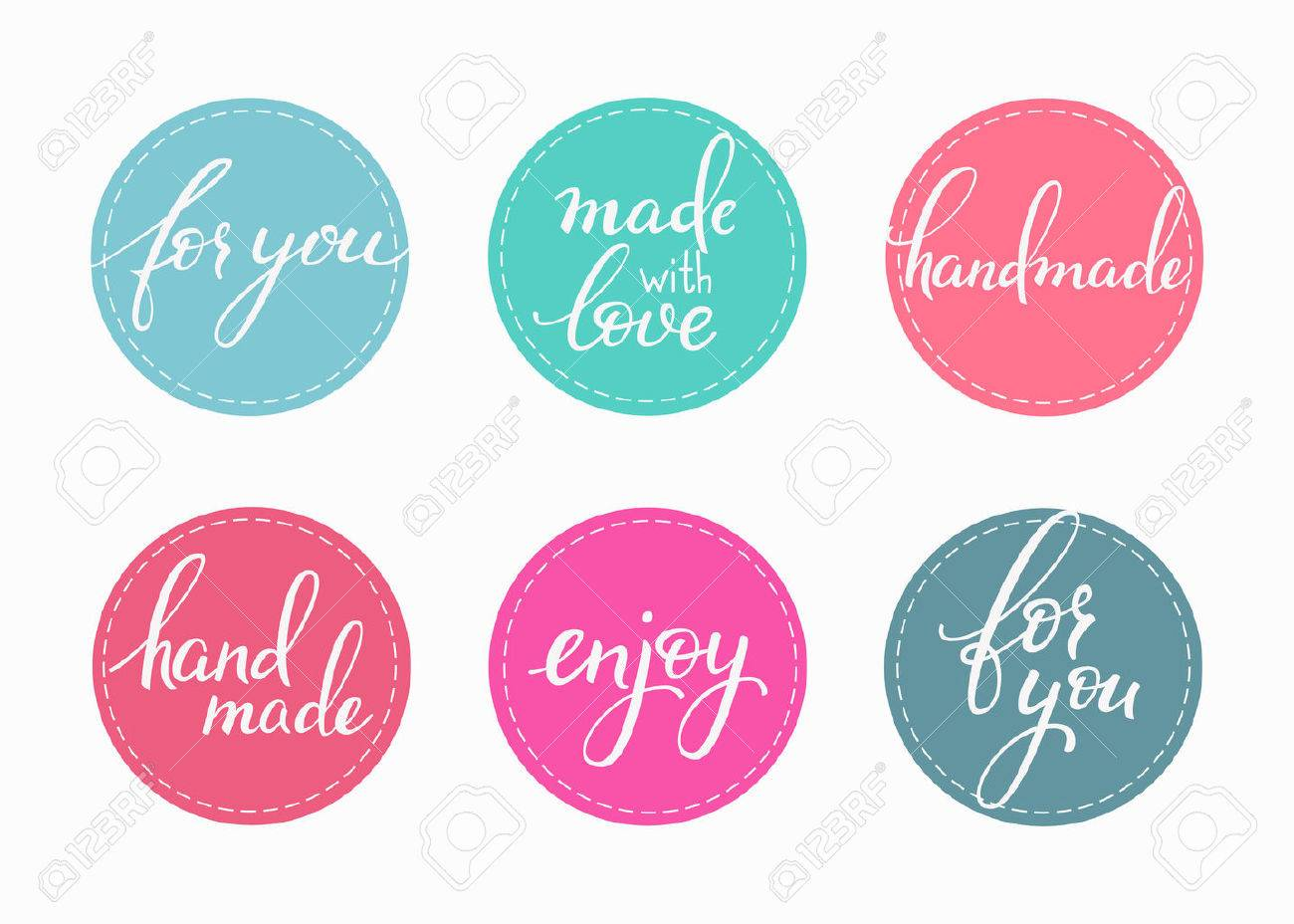 Handmade sticker lettering set. Calligraphy label graphic design lettering element. Hand written calligraphy style signs. Hand craft decoration element. Handmade. For you. Made with love. Enjoy. - 50898462