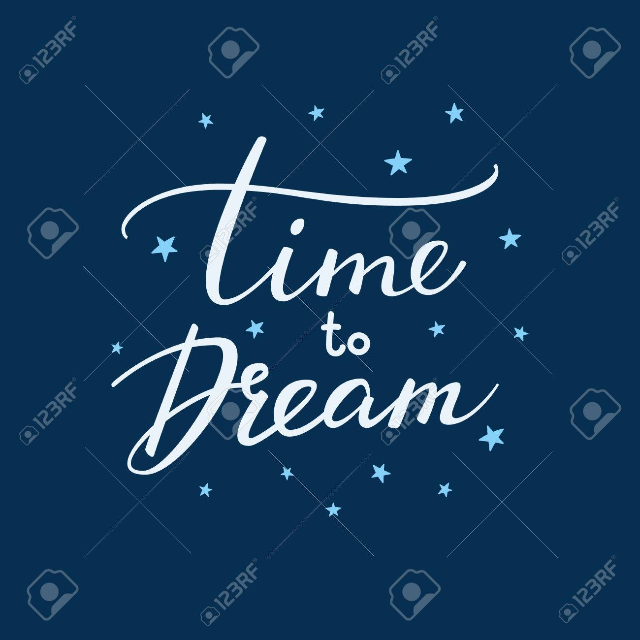 Good night lettering. Motivational quote. Sweet cute inspiration typography. Calligraphy postcard poster graphic design lettering element. Hand written sign. Stars decoration element. Time to dream - 51295302
