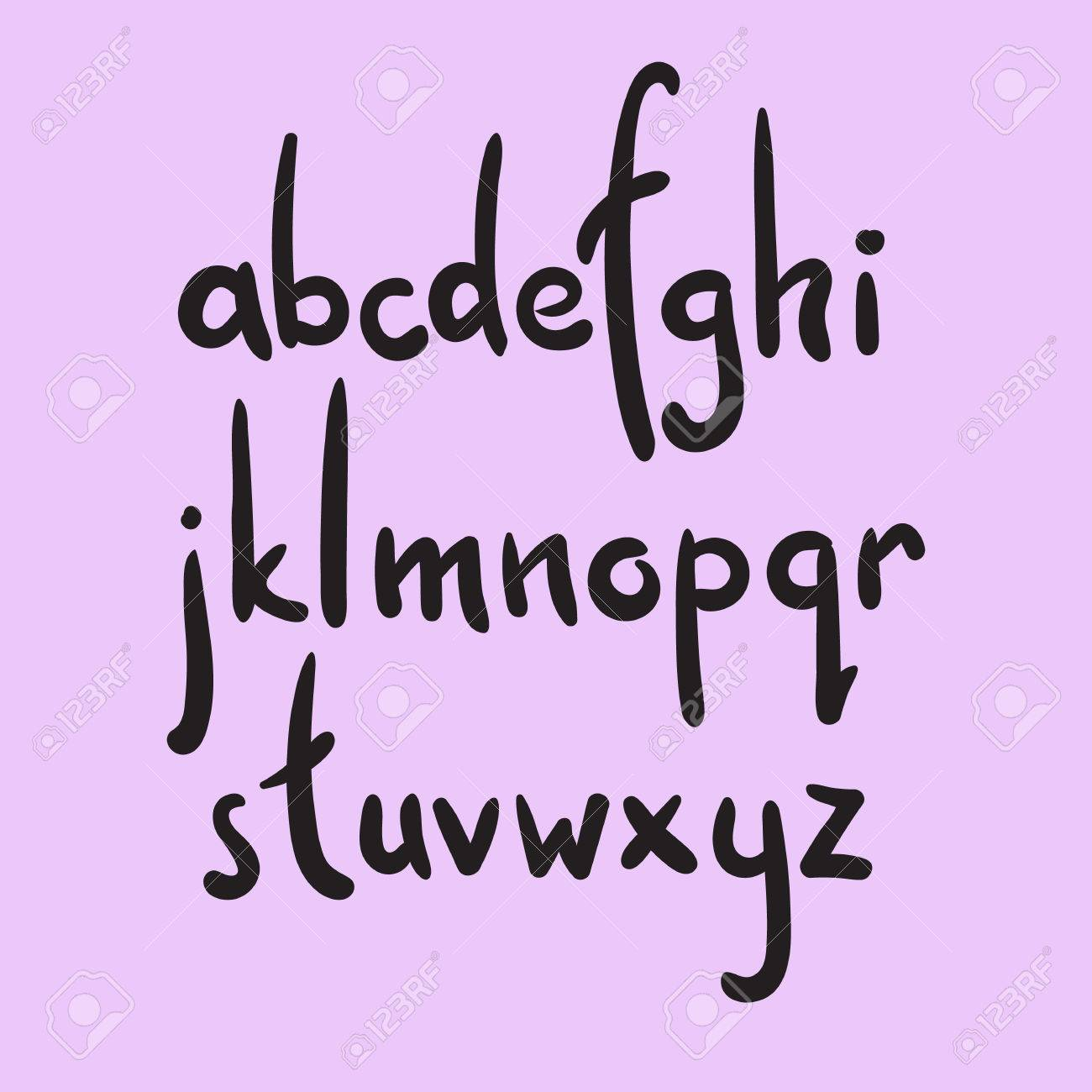 Brush Style Vector Alphabet Calligraphy Low Case Letters Cursive Font Cute