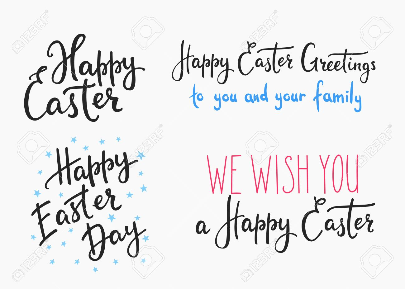 Happy Easter Day Simple Lettering Set Calligraphy Postcard Or Poster Graphic Design Element