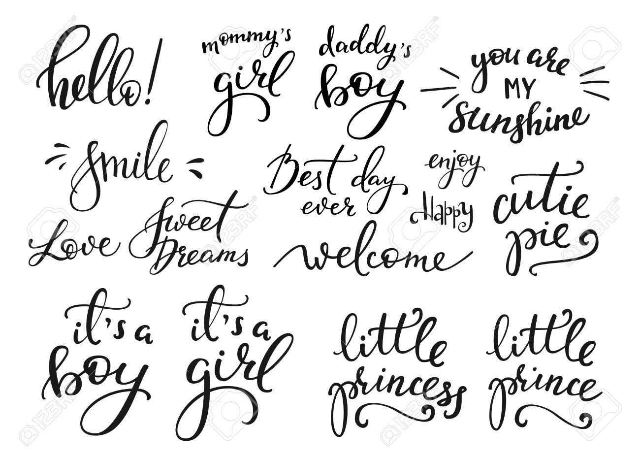 Lettering photography family overlay set. Motivational quote. Sweet cute inspiration typography. Calligraphy postcard poster photo graphic design element. Hand written sign. Baby photo album element - 52370095