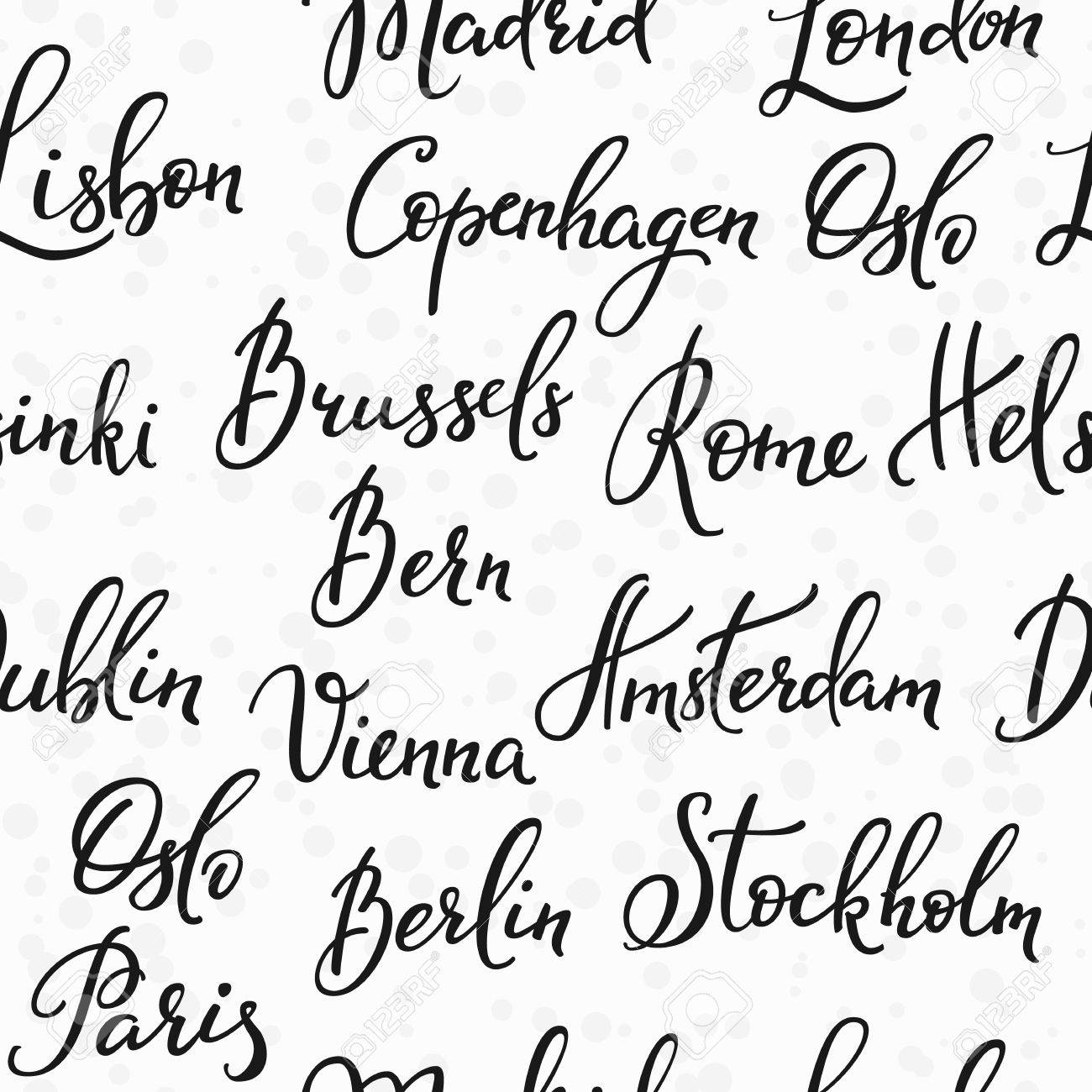Lettering Seamless Pattern Europe Capitals Names Set Sweet Cute Inspiration Typography Calligraphy Postcard Poster