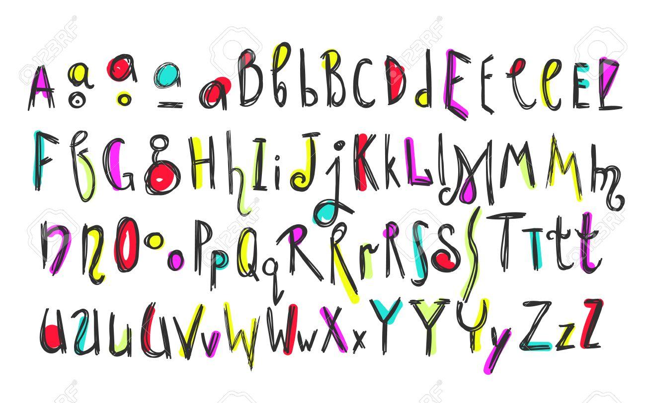 Garabatos De Colores Para Niños Alfabeto Vector Letras Y Cifras Decoradas Con Elementos De Estilo étnico Floral Y De Colores Dibujados A Mano Para