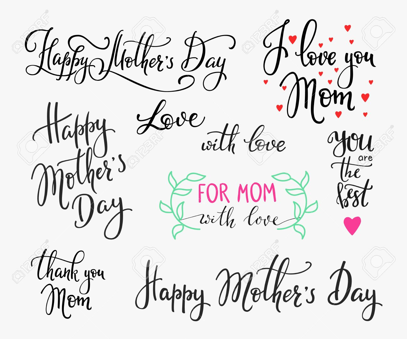 Souvent Happy Mothers Day Lettrage Simple. Carte Postale De Calligraphie  RG39