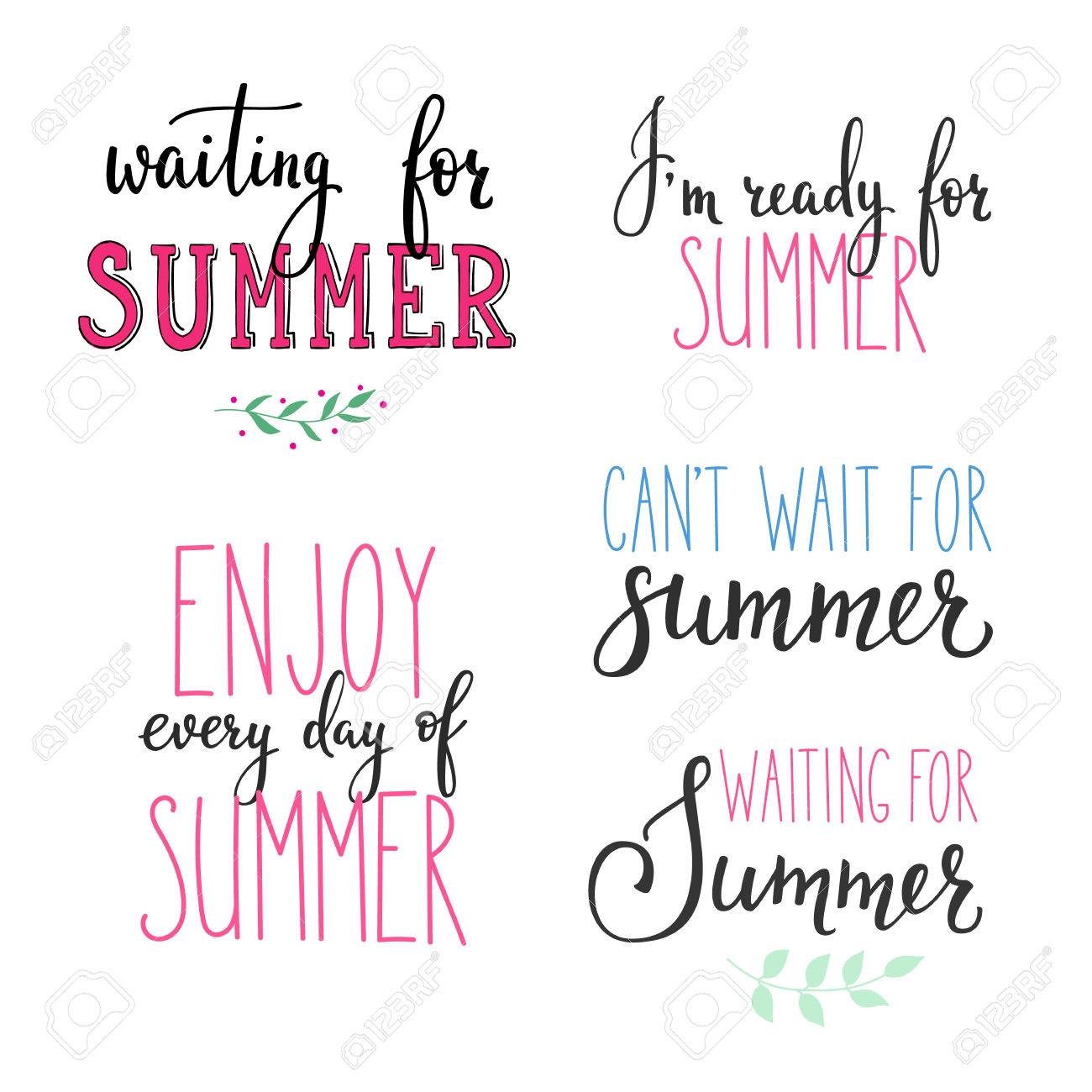 Hello Summer Lettering Typography Set. Calligraphy Summer Postcard Or  Poster Graphic Design Lettering Element.