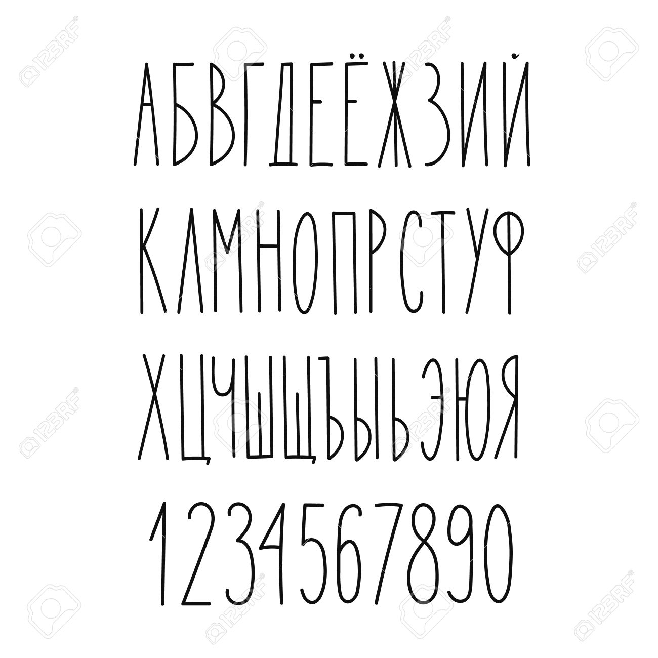 Doodle Russian Cyrillic Narrow Alphabet Vector Simple Hand Drawn Letters Thin San Serif Marker Font