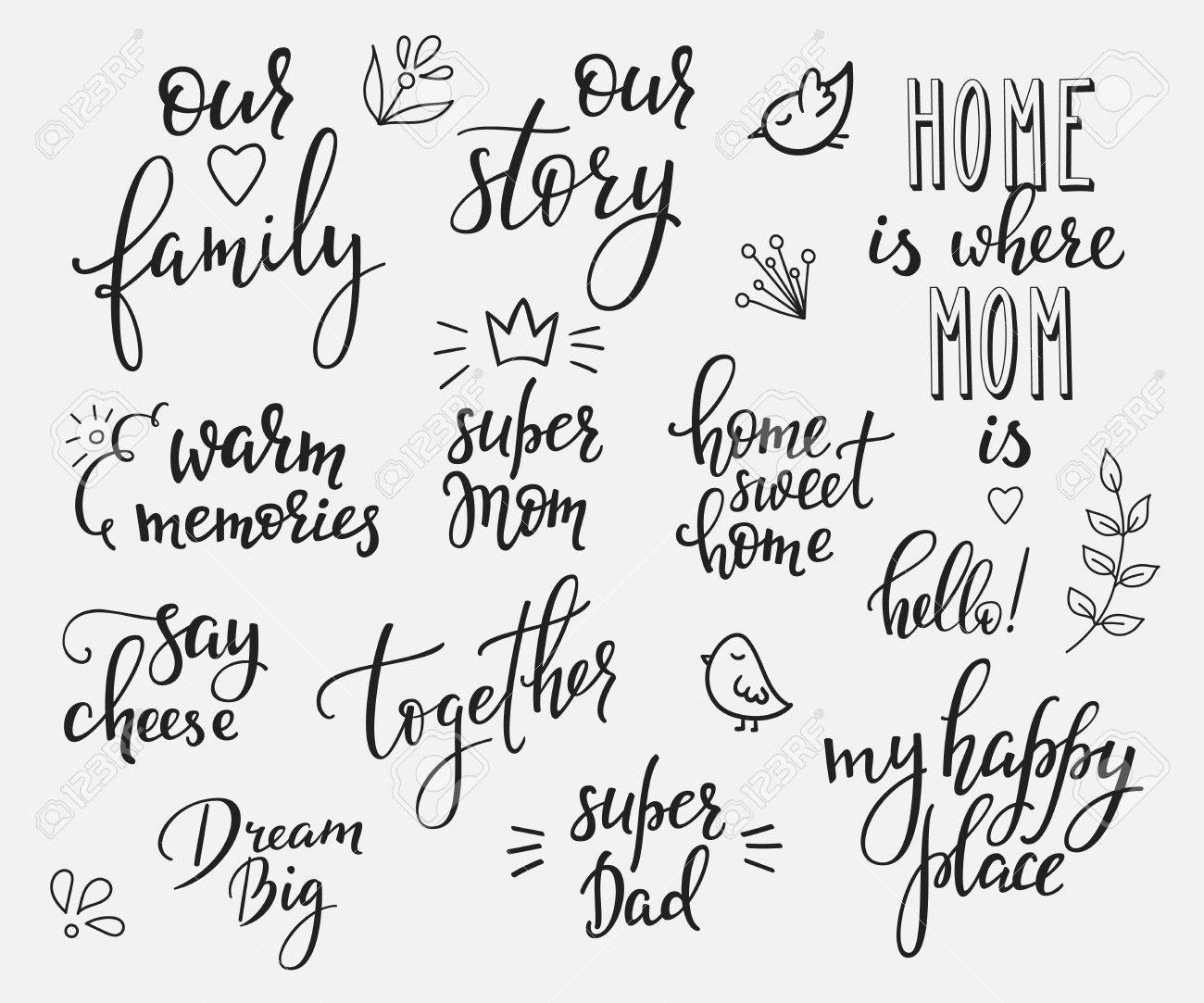 Lettering photography overlay set. Motivational quote. Sweet cute inspiration typography. Calligraphy photo graphic design element. Hand written sign. Love story wedding family album decoration. - 55617343