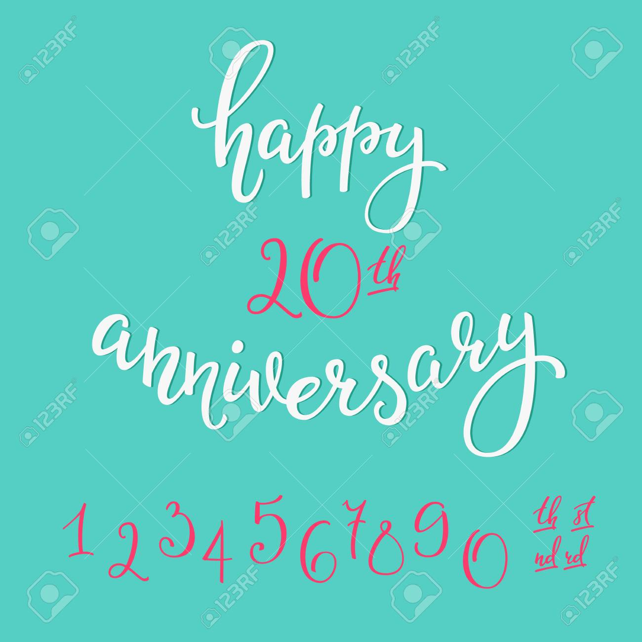 Happy Anniversary Lettering Sign Quote Typography Calligraphy Design For Postcard Graphic Simple Vector