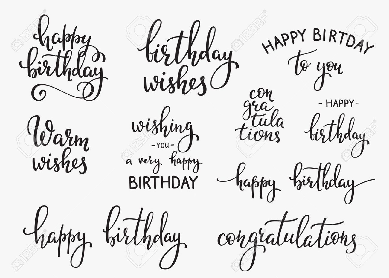 Happy Birthday lettering sign quote typography set. Calligraphy design for postcard poster graphic design. Simple vector brush calligraphy. Happy Birthday card design elements. Birthday party decor. - 55617475