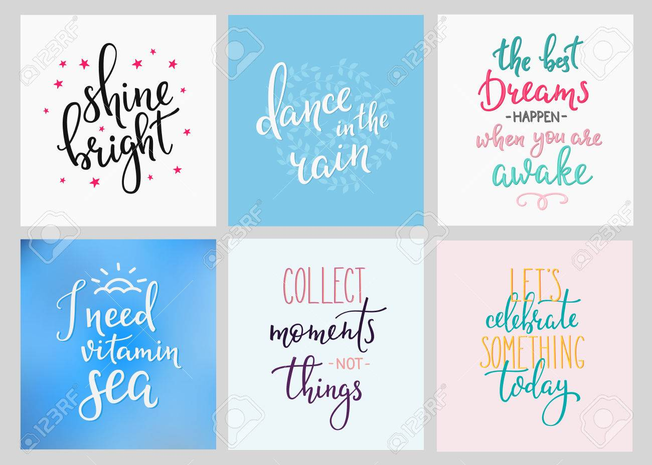 Lettering Vector Postcard Quotes Set Motivational Quote Sweet