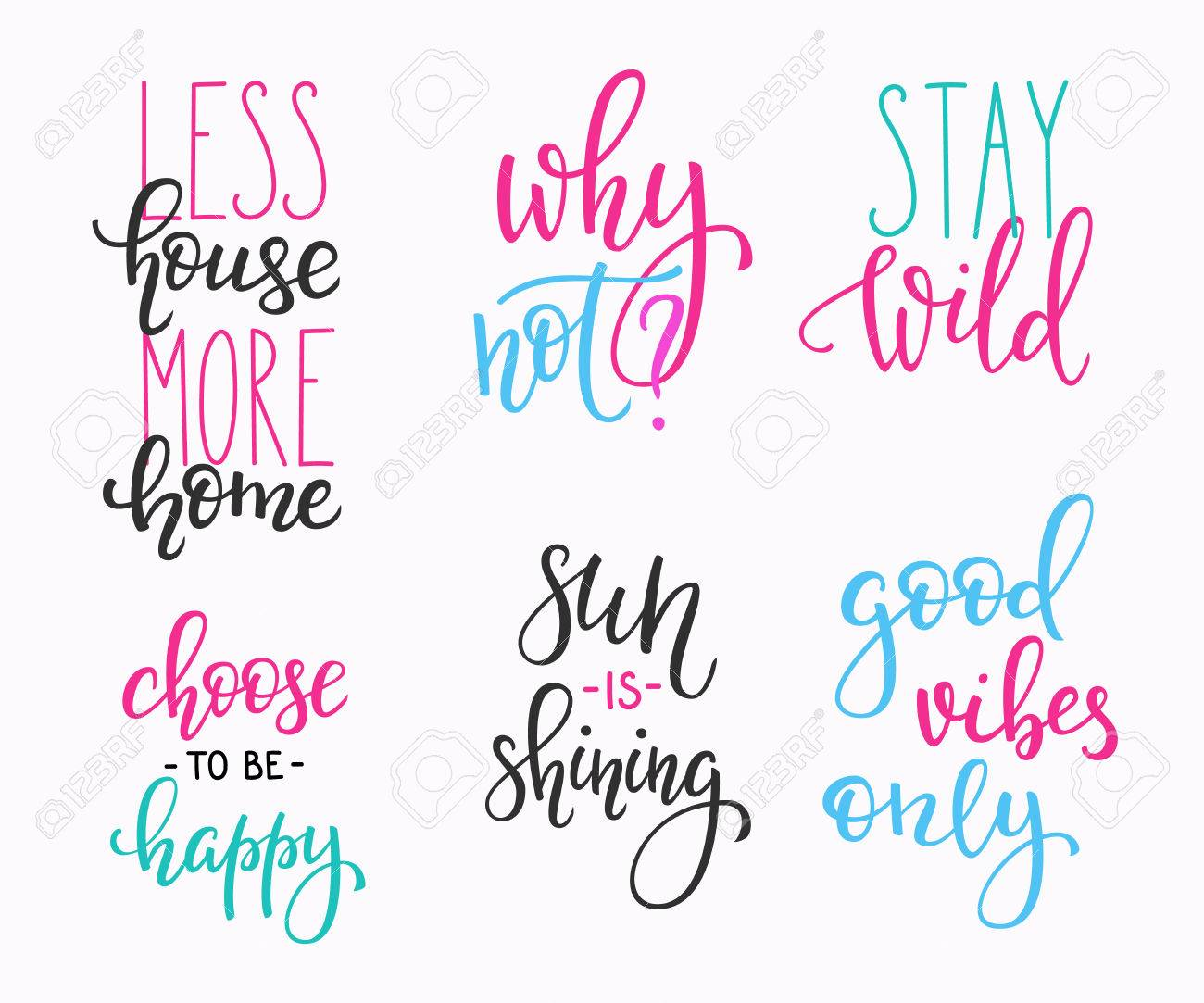 Lettering Vector Postcard Quotes Set Motivational Quote Cute Royalty Free Cliparts Vectors And Stock Illustration Image 57230175