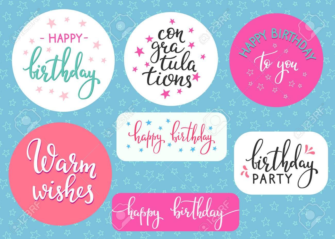 Gelukkige Verjaardag Belettering Teken Citaat Typografie Set