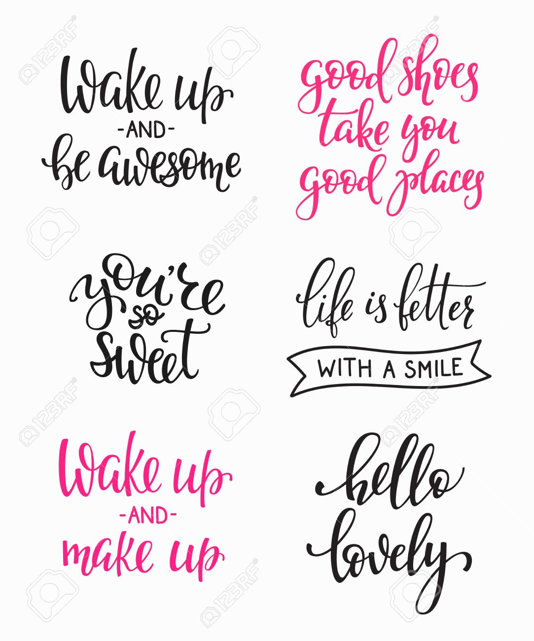 Friendship Family Romantic love lettering. Calligraphy postcard graphic design typography. Hand written vector sign. You are so sweet awesome. Good shoes good places. Hello lovely. Wake up Make up - 59204461