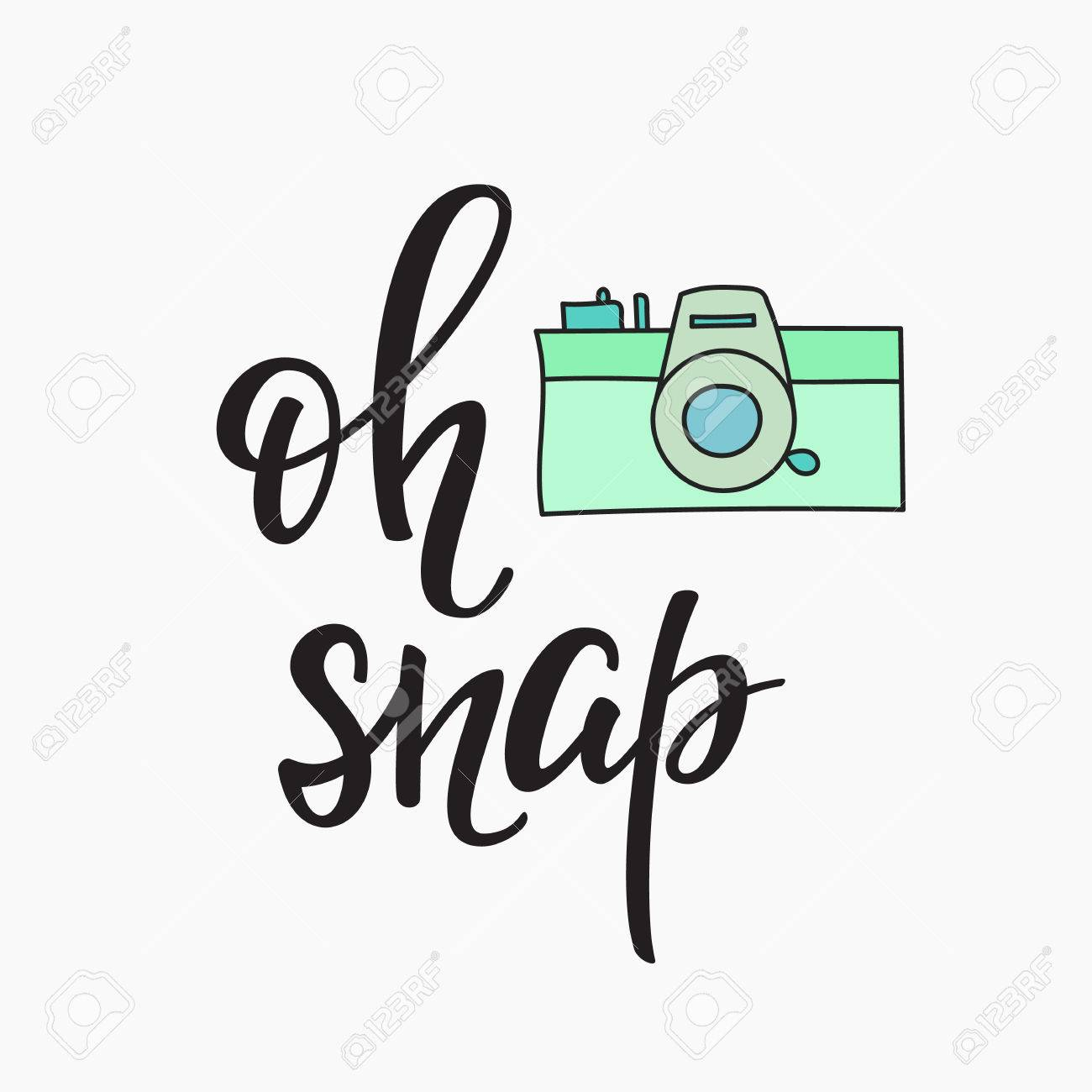 Oh Snap Photo Booth Vintage Old Camera Calligraphy Style Quote About Photography Party
