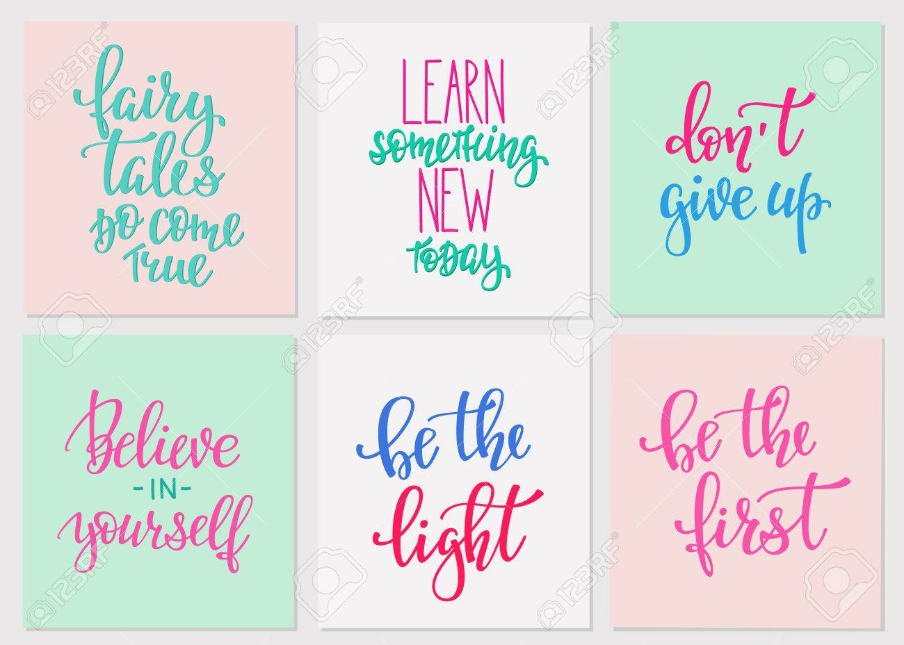 Lettering Vector Postcard Quotes Set Motivational Sweet Cute Royalty Free Cliparts Vectors And Stock Illustration Image 61109006