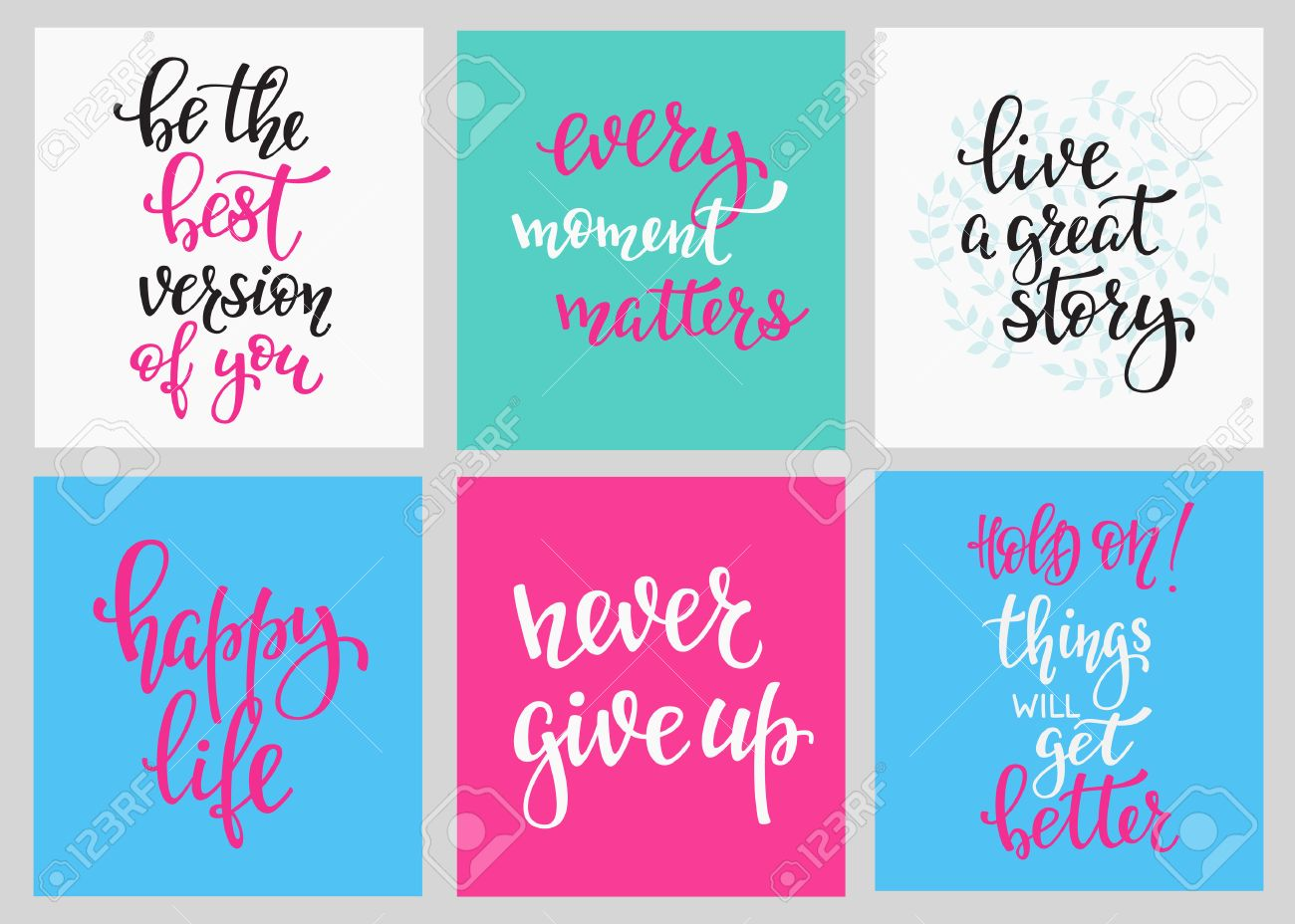 Lettering vector postcard quotes set. Motivational cute inspiration typography. Calligraphy photo graphic design element. Hand written sign. Every moment matters Give up Live great story Happy life - 61109008