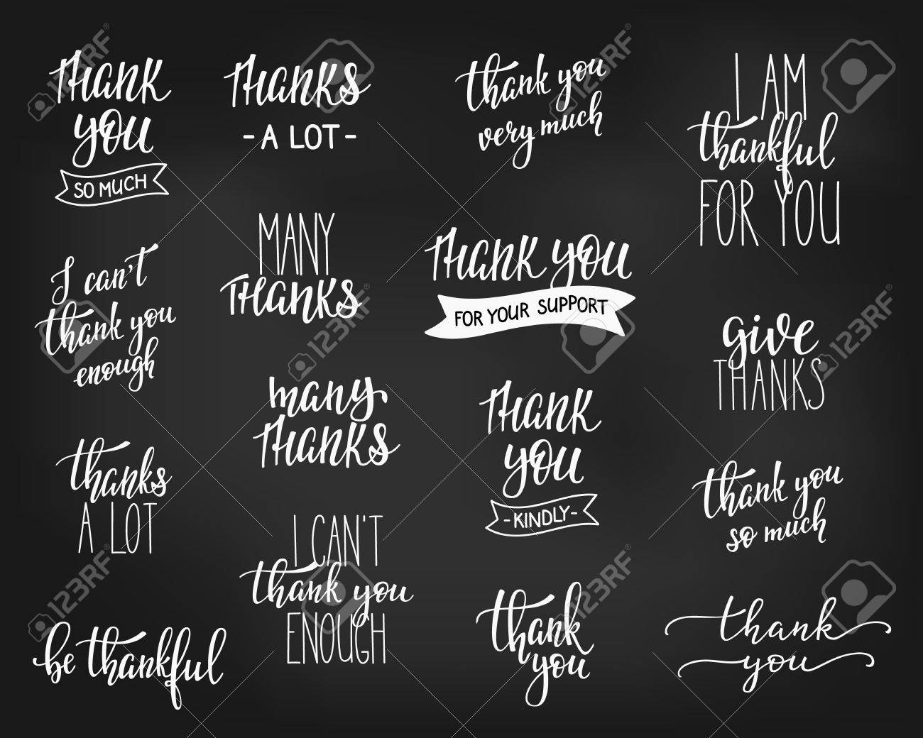 Thank You Friendship Family Positive Quote Thanksgiving Lettering.  Calligraphy Postcard Graphic Design Typography Element.