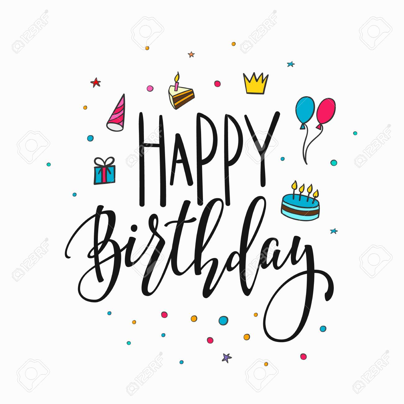 Happy Birthday Party Lettering Sign Quote Typography Calligraphy Design For Postcard Poster Graphics Simple
