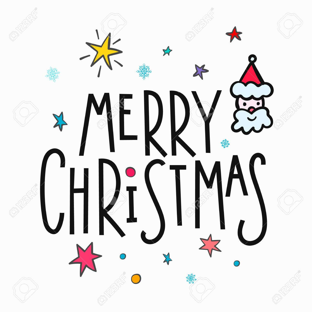 Christmas Graphics Vector.Merry Christmas Happy New Year Simple Lettering Or Calligraphy