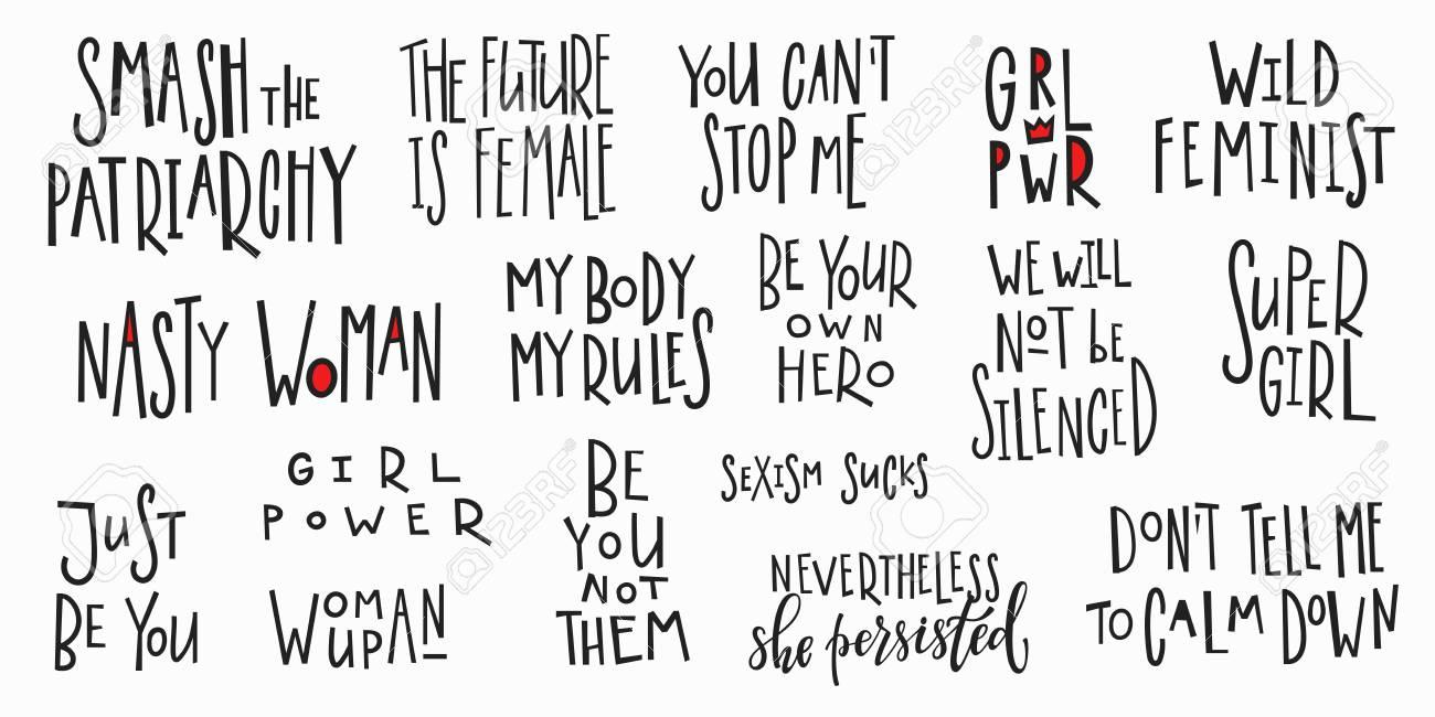 Mädchen Power T-Shirt Zitat Feministische Schrift. Kalligraphie ...