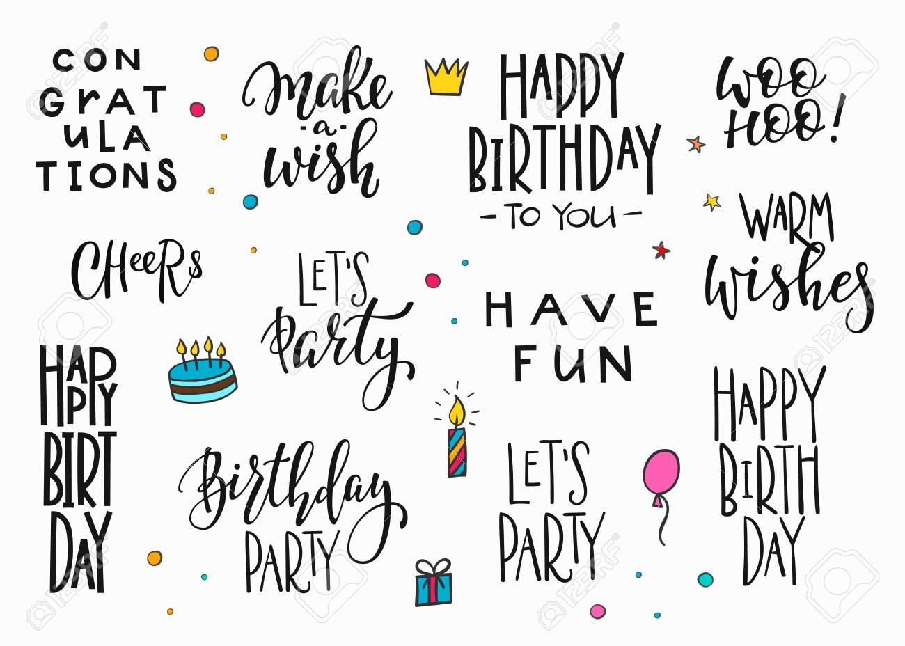 Alles Gute Zum Geburtstag Party Schriftzug Zeichen Zitat Typografie