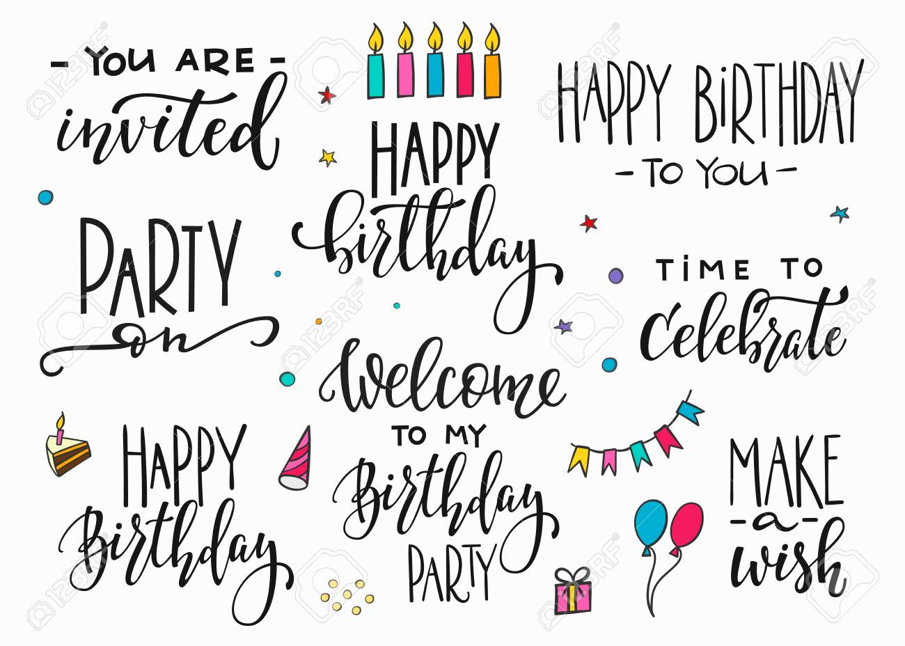 Feliz Cumpleaños Fiesta Letras Signo Citar Tipografía Conjunto Diseño De Caligrafía Para Gráficos De Carteles Postales Elemento De La Tarjeta De Muestra De Pincel Vector Simple Color Decoración Globo De Pastel De