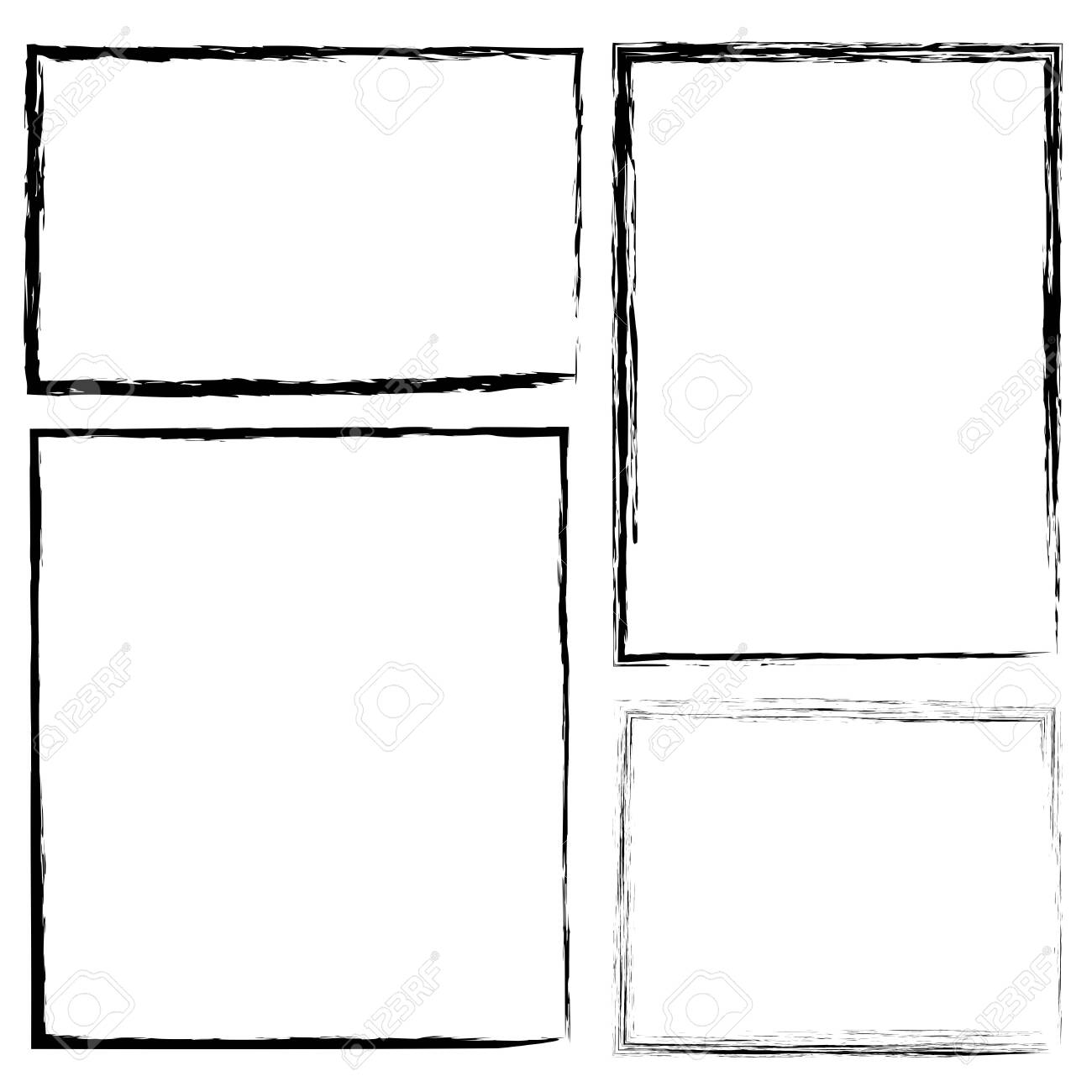 Hand-drawn brush border. Flat rectangle frame in grunge style. Pencil drawing. Stock photo. - 151575075