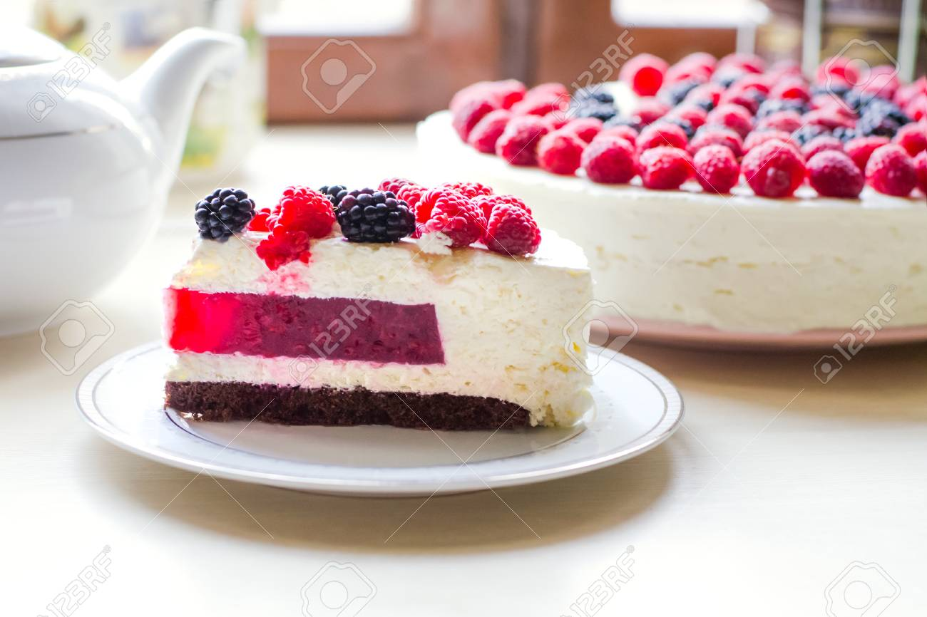 Home Mousse Cake With Cottage Cheese And Jello With Raspberries