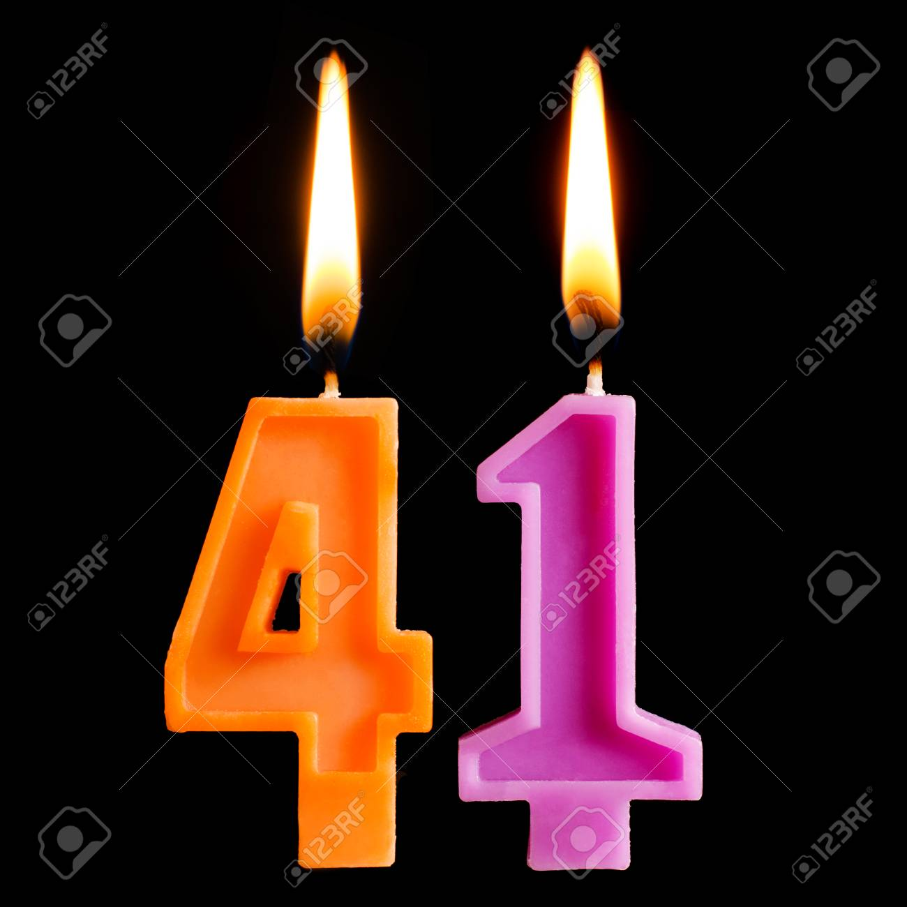 Burning Birthday Candles In The Form Of 41 Forty One For Cake Isolated On Black Background