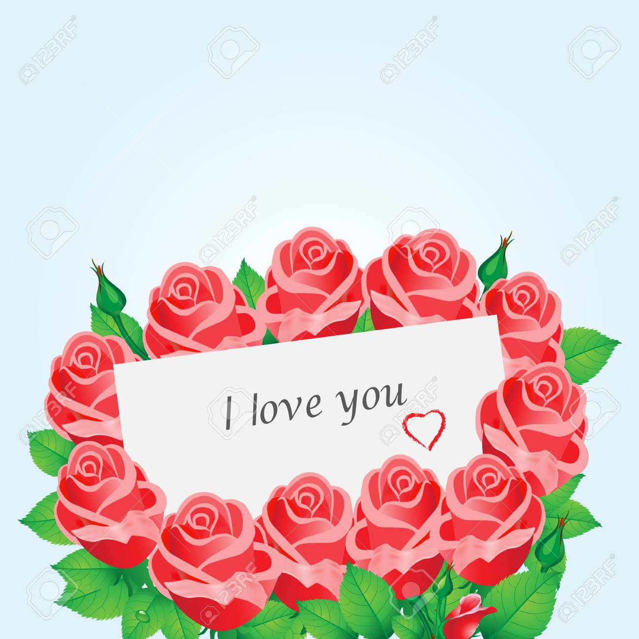 Romantic Card With Red Roses Heart And The Text I Love You Royalty Free Cliparts Vectors And Stock Illustration Image 69594130