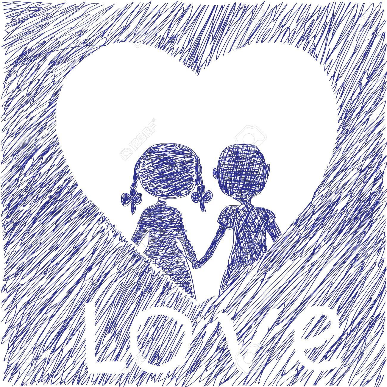 The boy and the girl to hold hands heart and love the childrens drawing