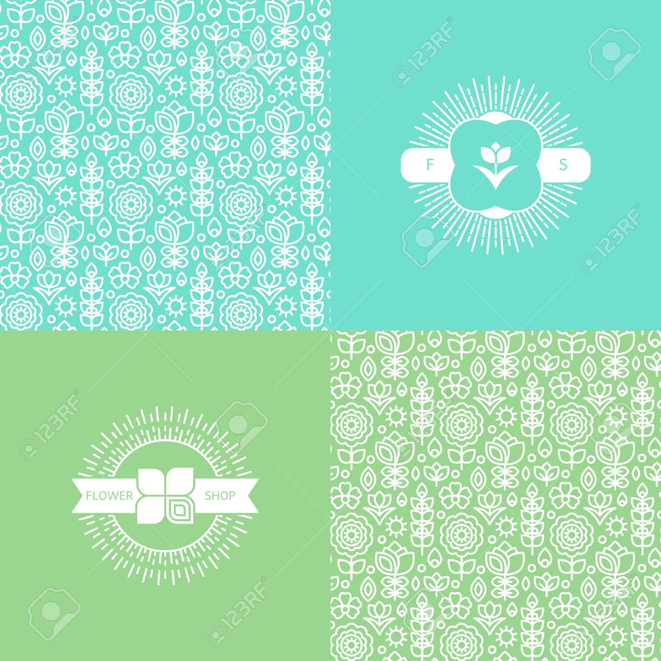 Set with pretty flower patterns and backgrounds royalty free set with pretty flower patterns and backgrounds stock vector 53262524 mightylinksfo