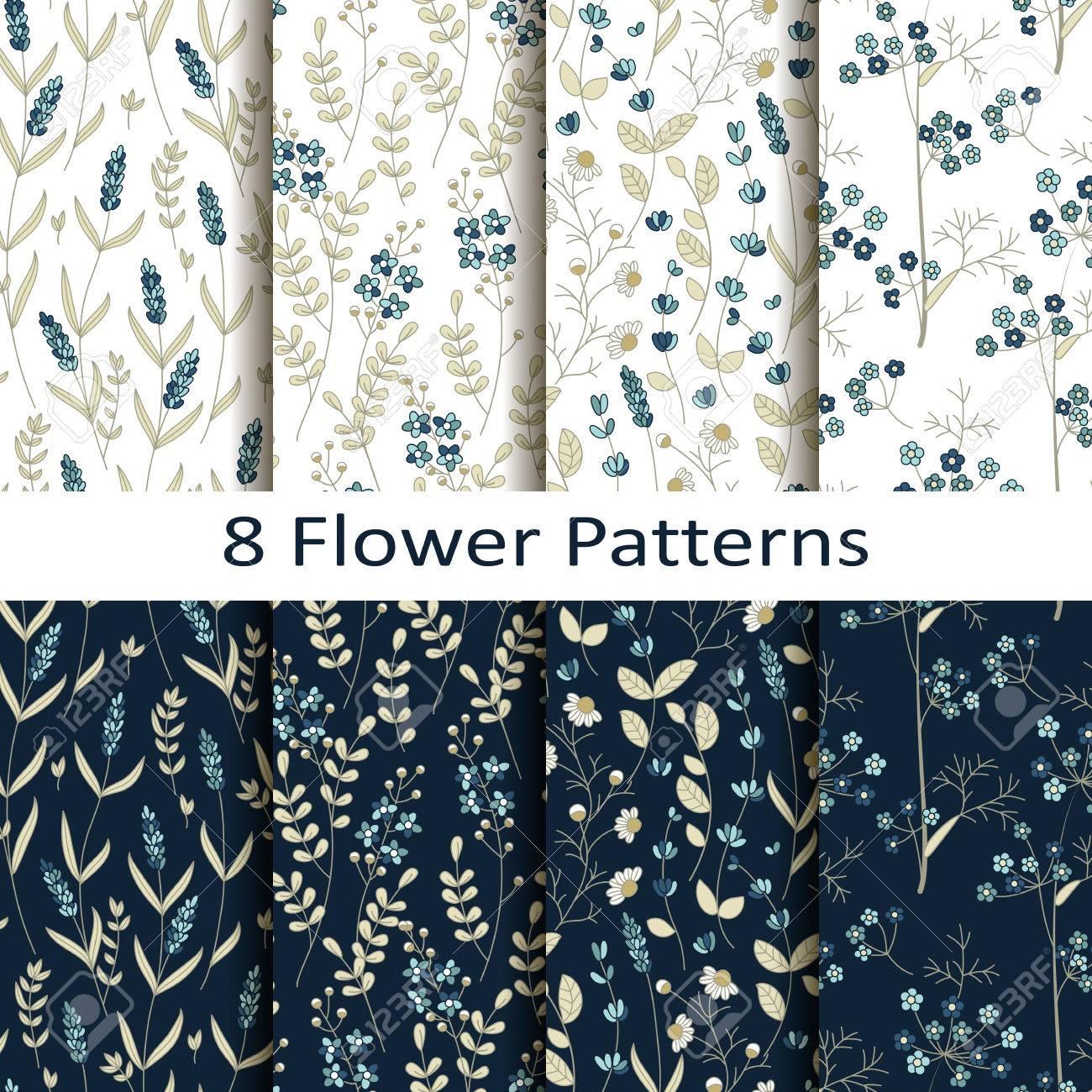 Vector set of eight seamless pattern blue pretty flower pattern vector vector set of eight seamless pattern blue pretty flower pattern mightylinksfo