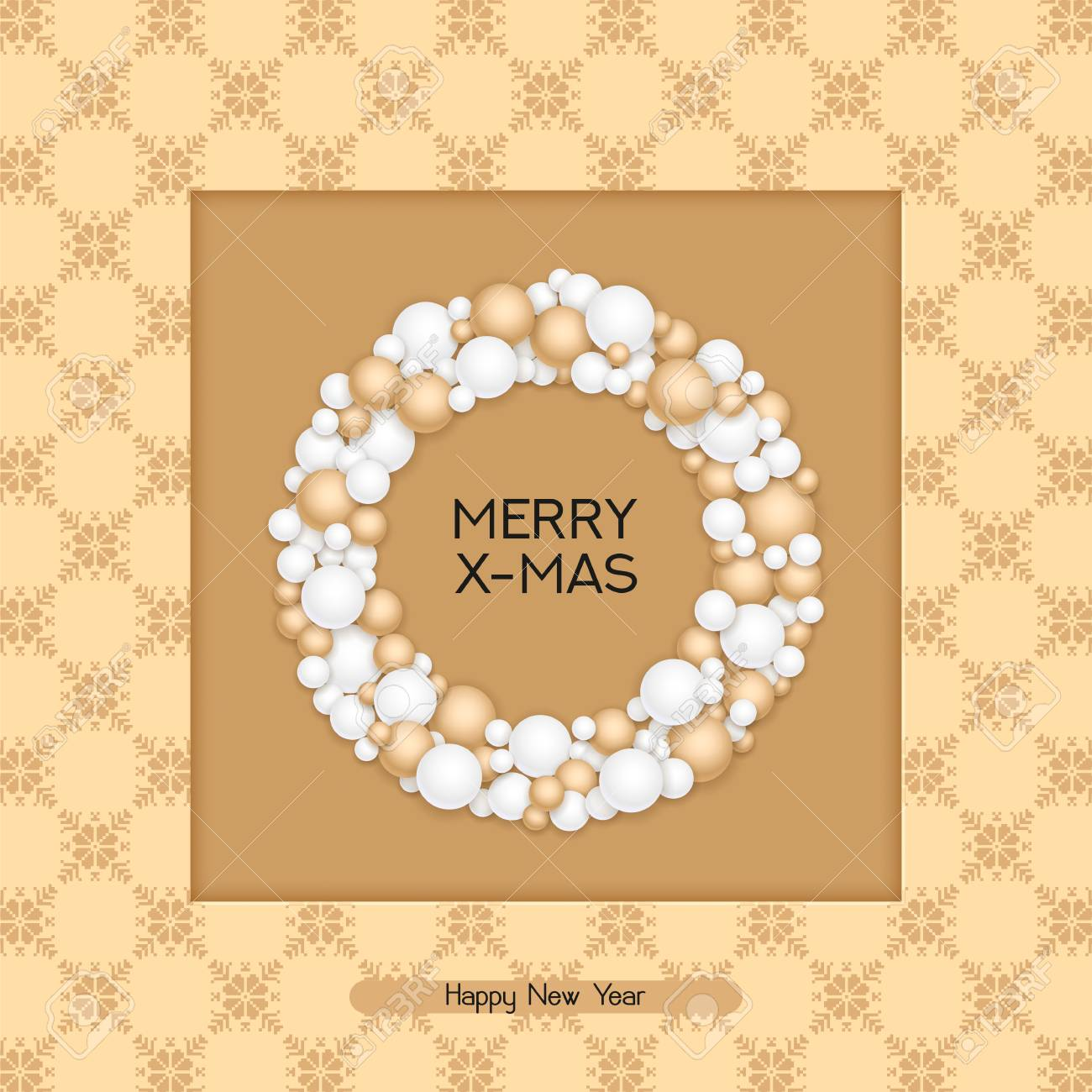 Vector Holiday Christmas Postcard With Greeting Words Winter