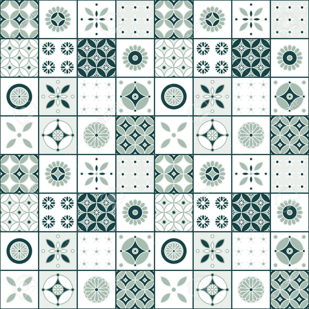 Seamless Vector Vintage Tile Pattern Design. Design For Covers ...