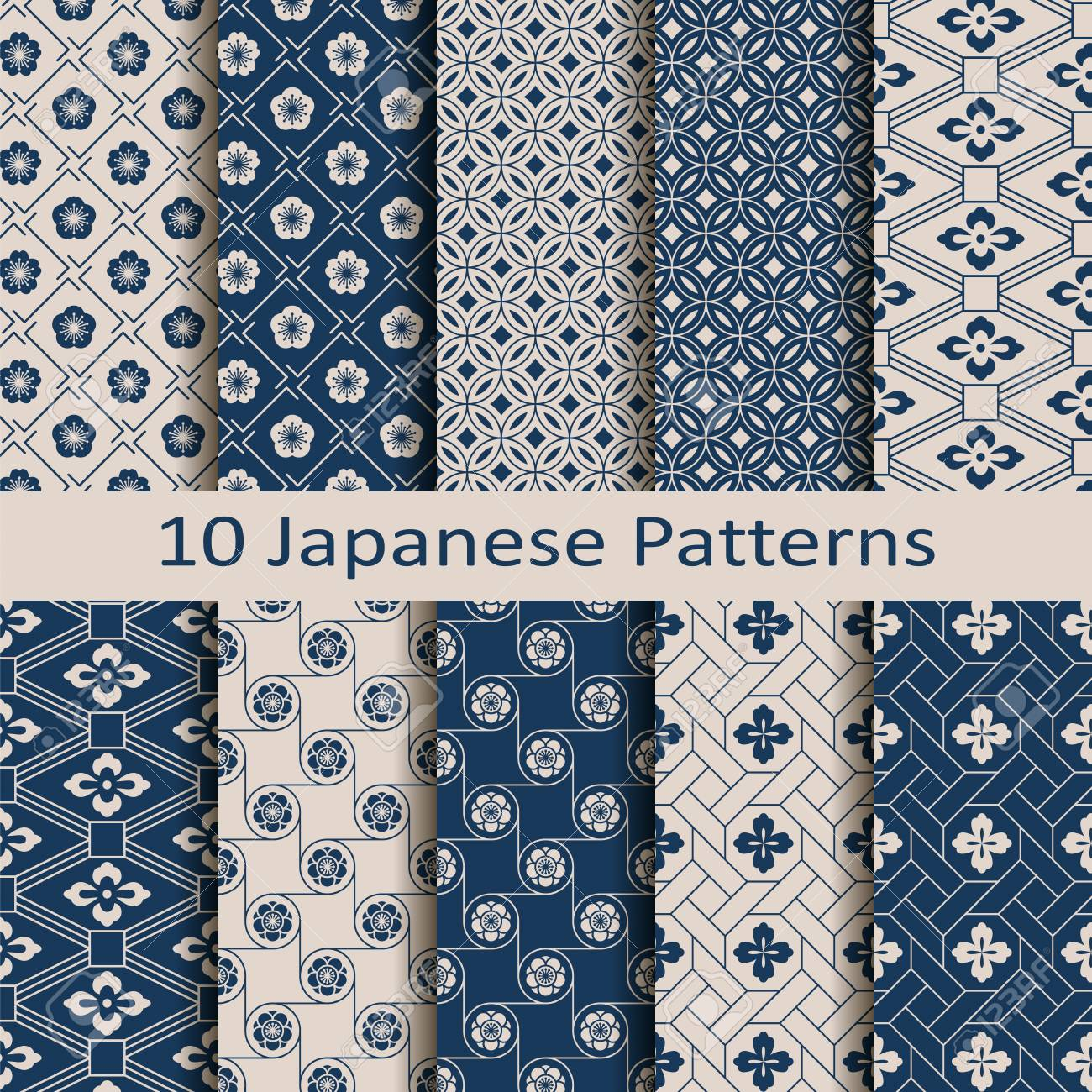 Set with eight seamless vector blue Japanese floral geometric