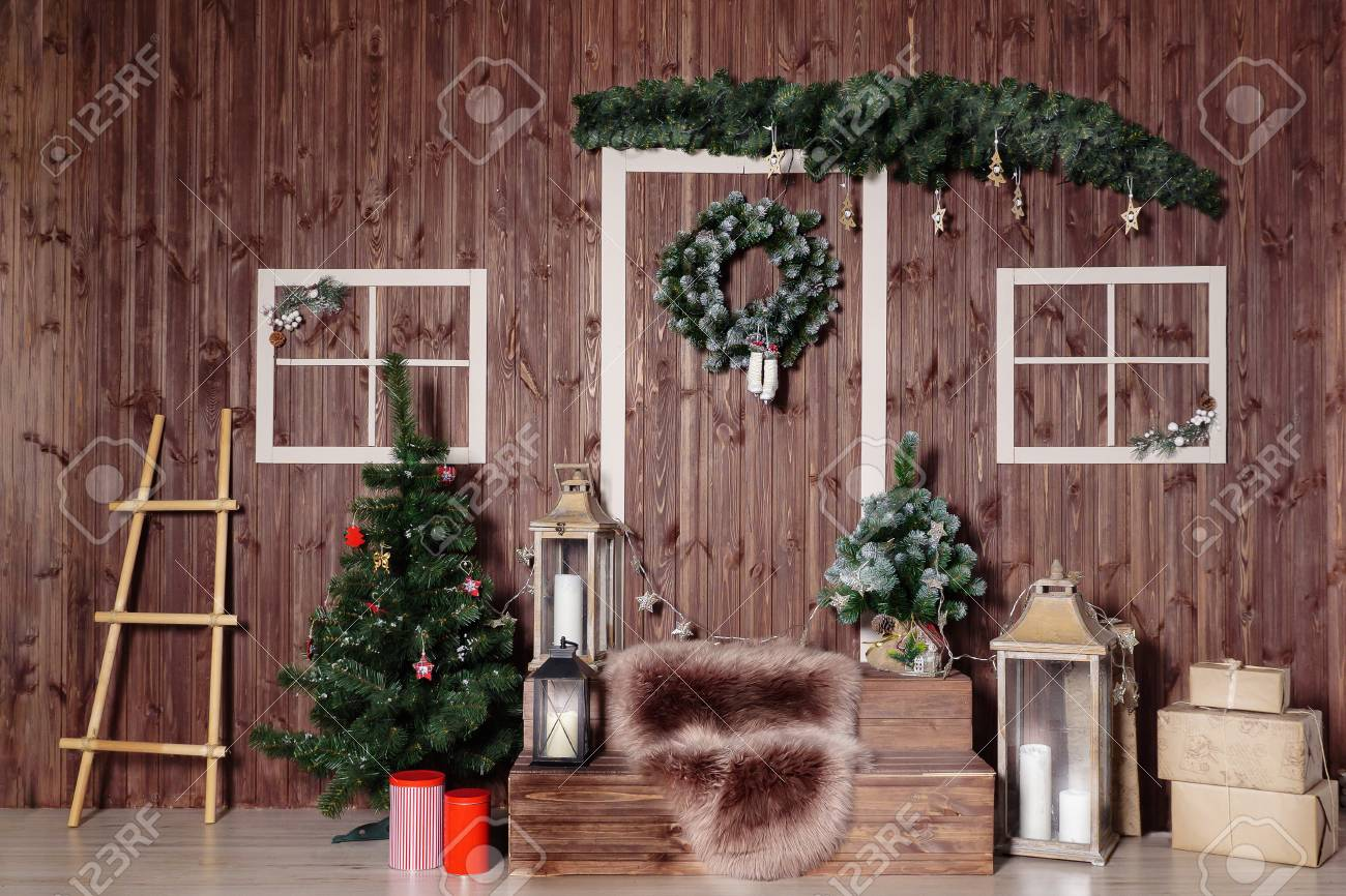 Christmas Studio Interior Decorations With Wooden Doors, Christmas ...