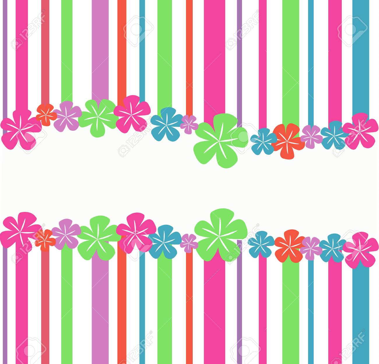striped, abstract background with flowers Stock Vector - 18069533