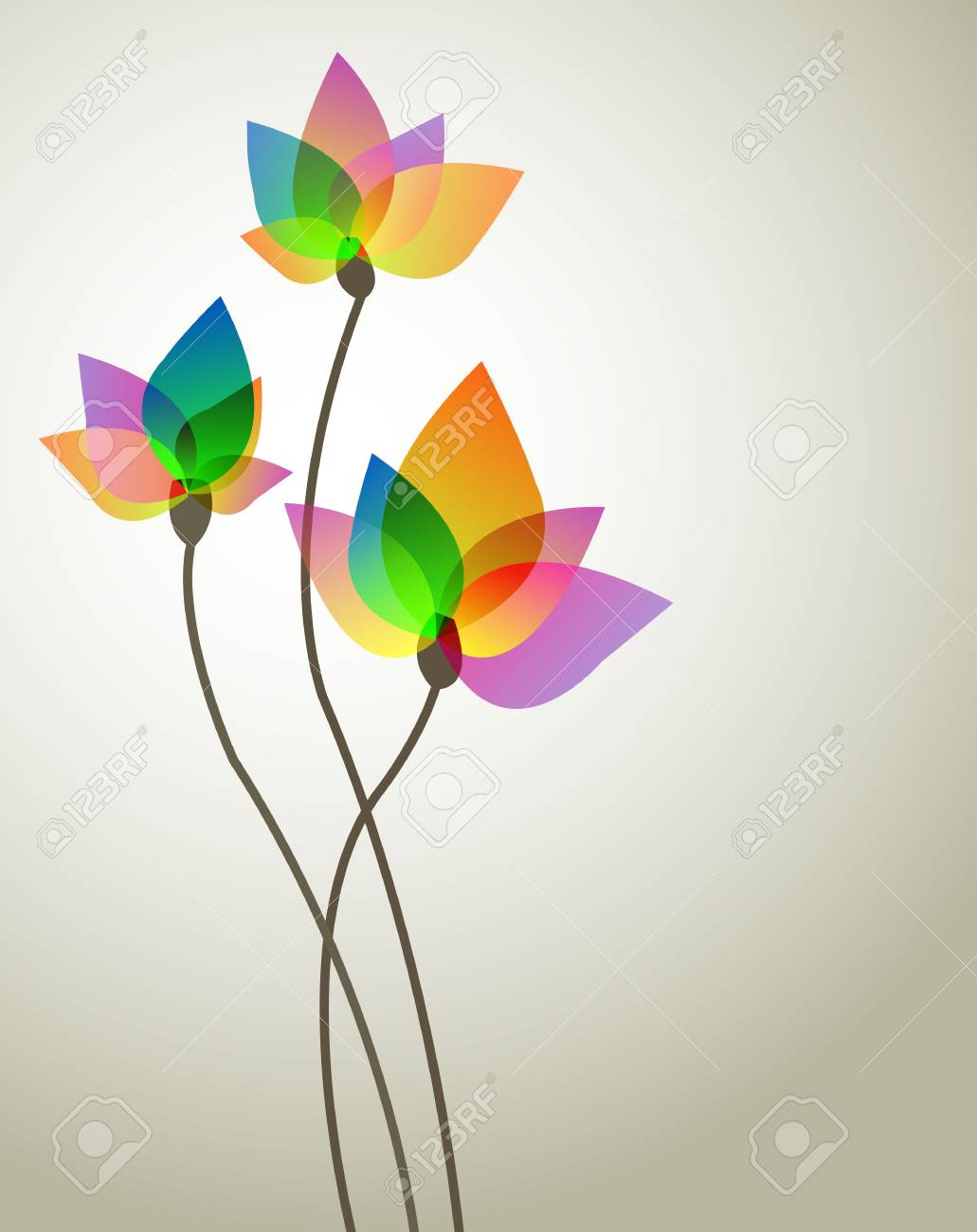 three abstract flower Stock Vector - 18793429