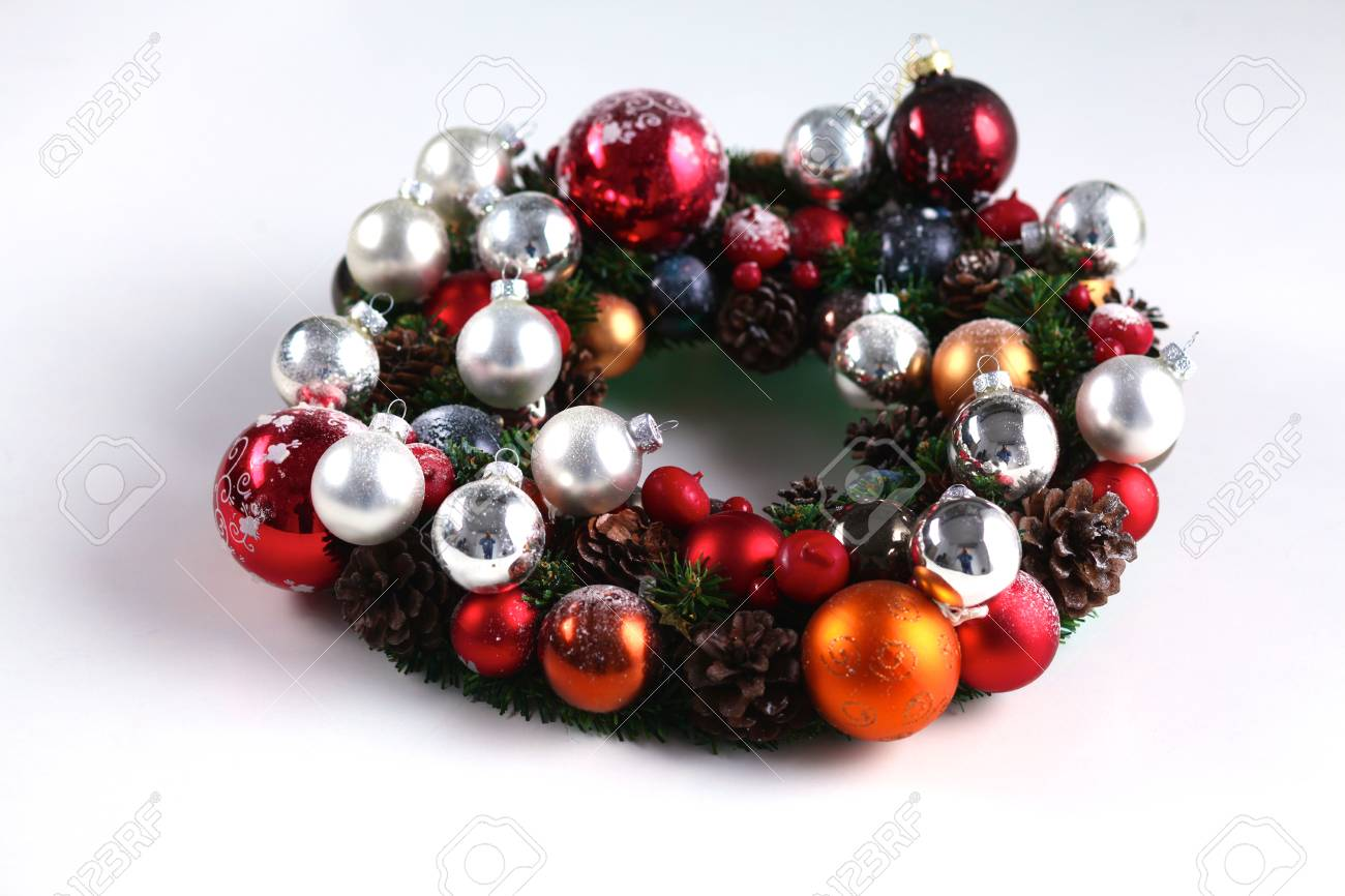 Advent Christmas Wreath On Door Decoration Stock Photo Picture And
