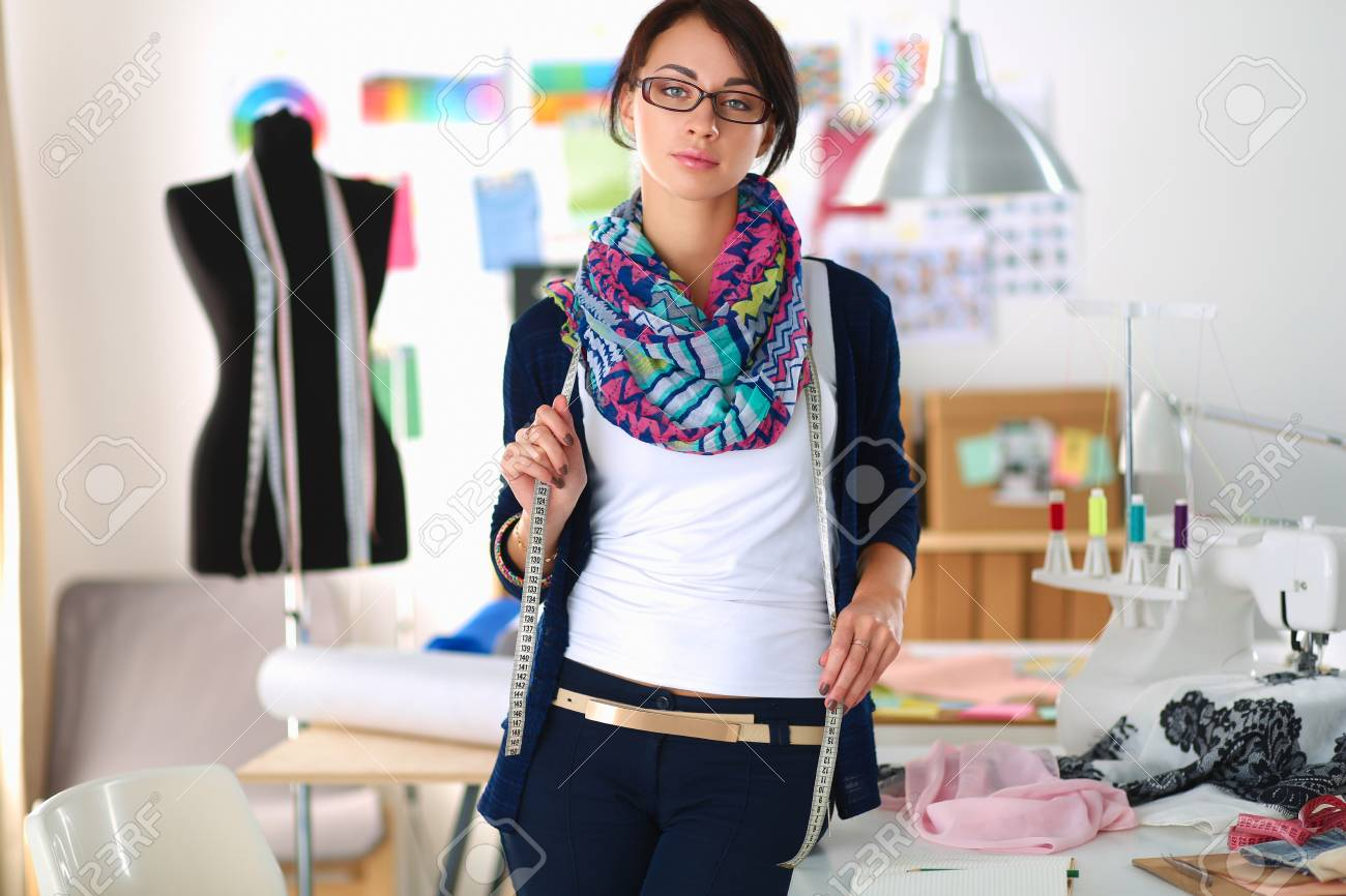 Beautiful Young Fashion Designer Standing In Studio Stock Photo Picture And Royalty Free Image Image 70558097