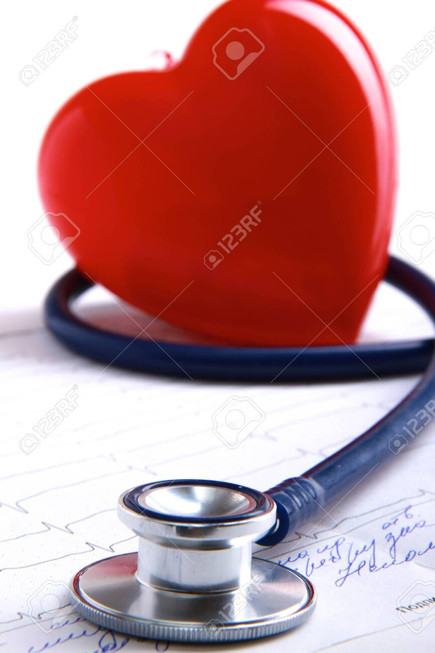 Red heart and a stethoscope - 147567780