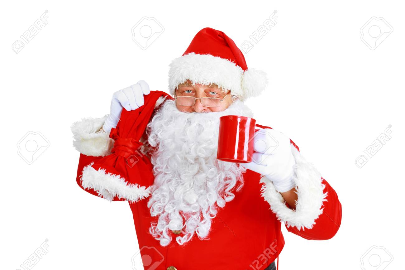 Sfondi Babbo Natale.Immagini Stock Babbo Natale Con Una Tazza Di Caffe Su Sfondo Bianco Image 91449081