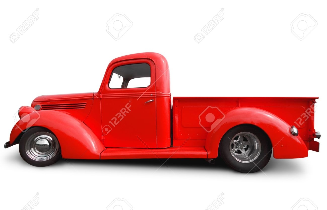 Side View Of Red Hot Rod Pick Up Truck Stock Photo