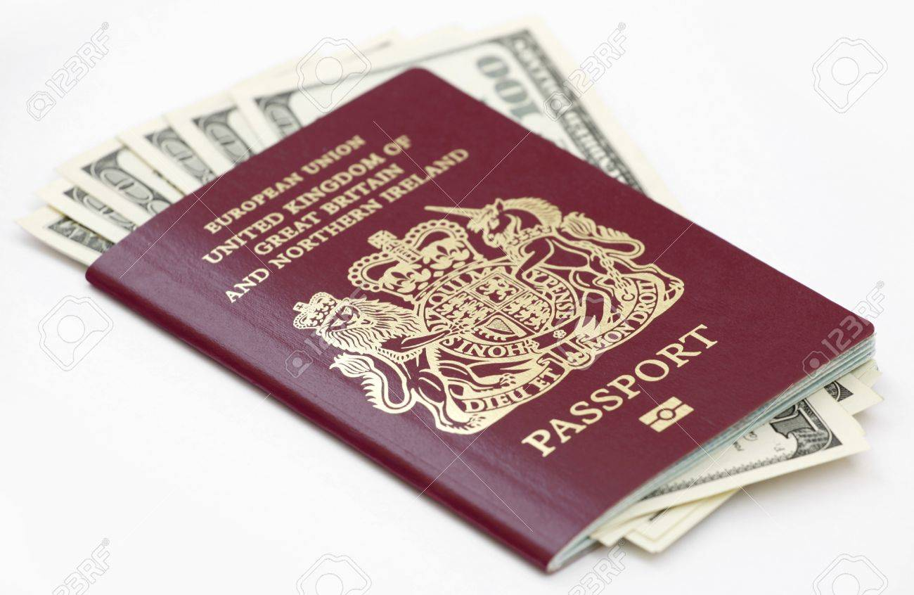 British European Union Passport With Us Currency Isolated On