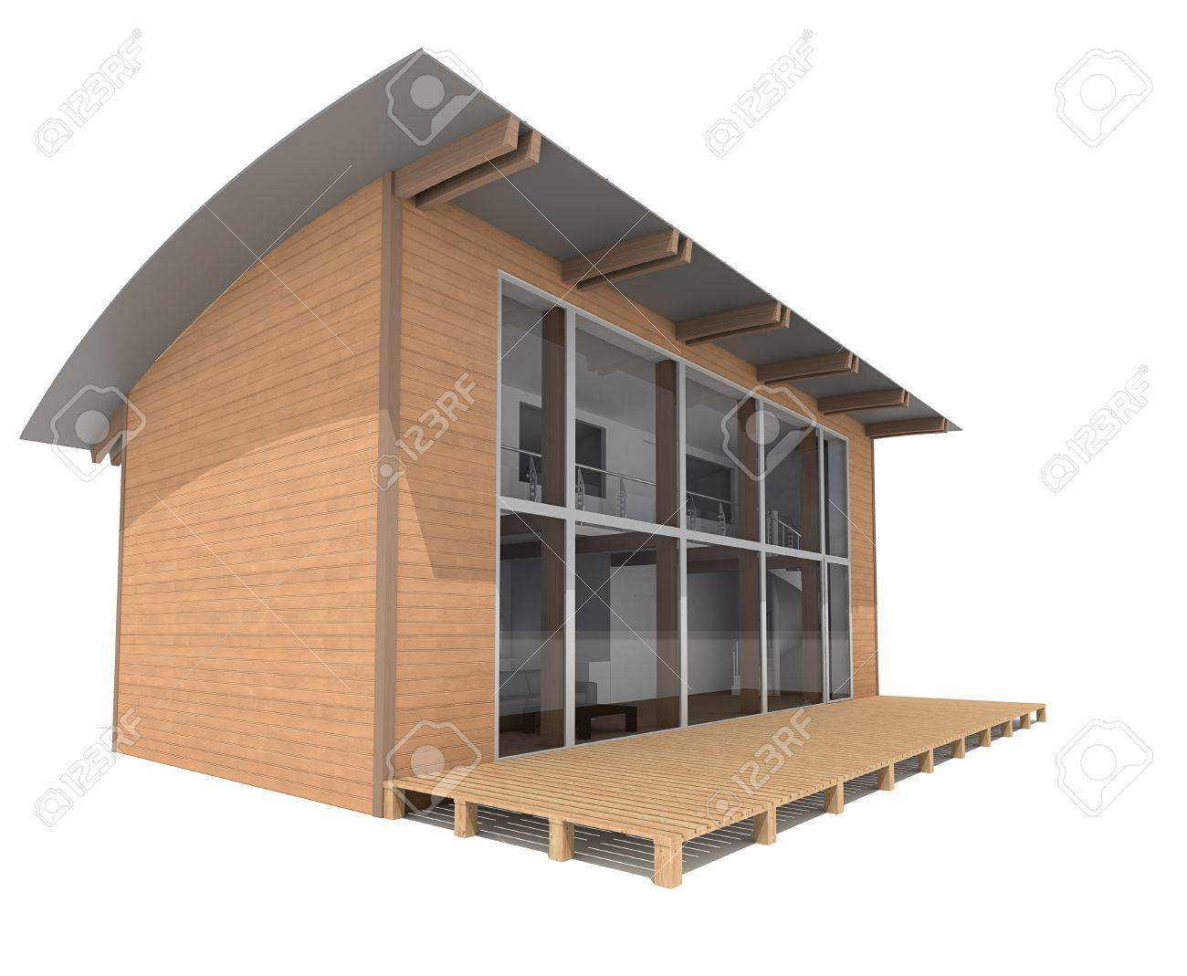^ wo Story Modern House On White Background 3d ender Stock Photo ...