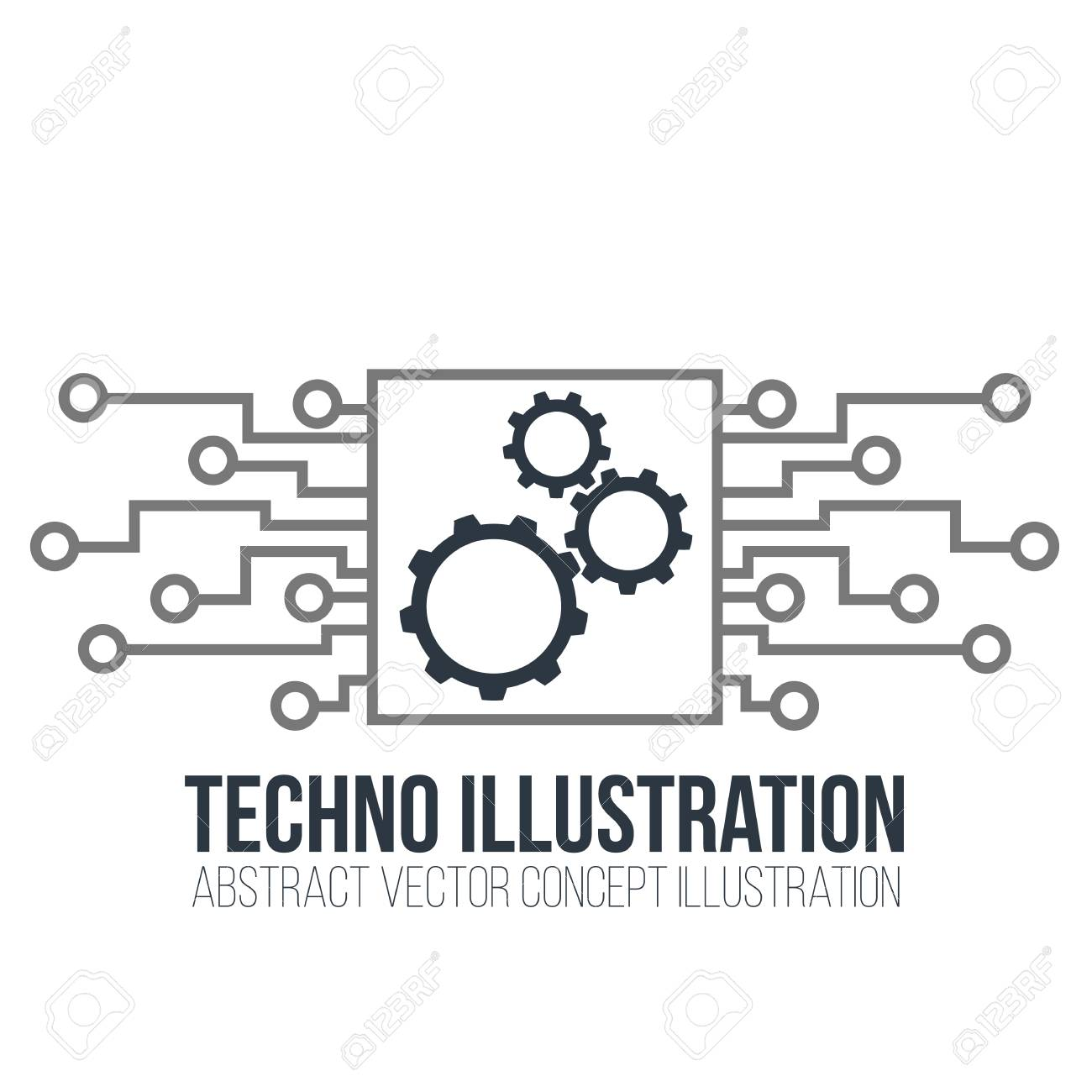 Circuit Board Vector On White Background. Gears, Engineering ...