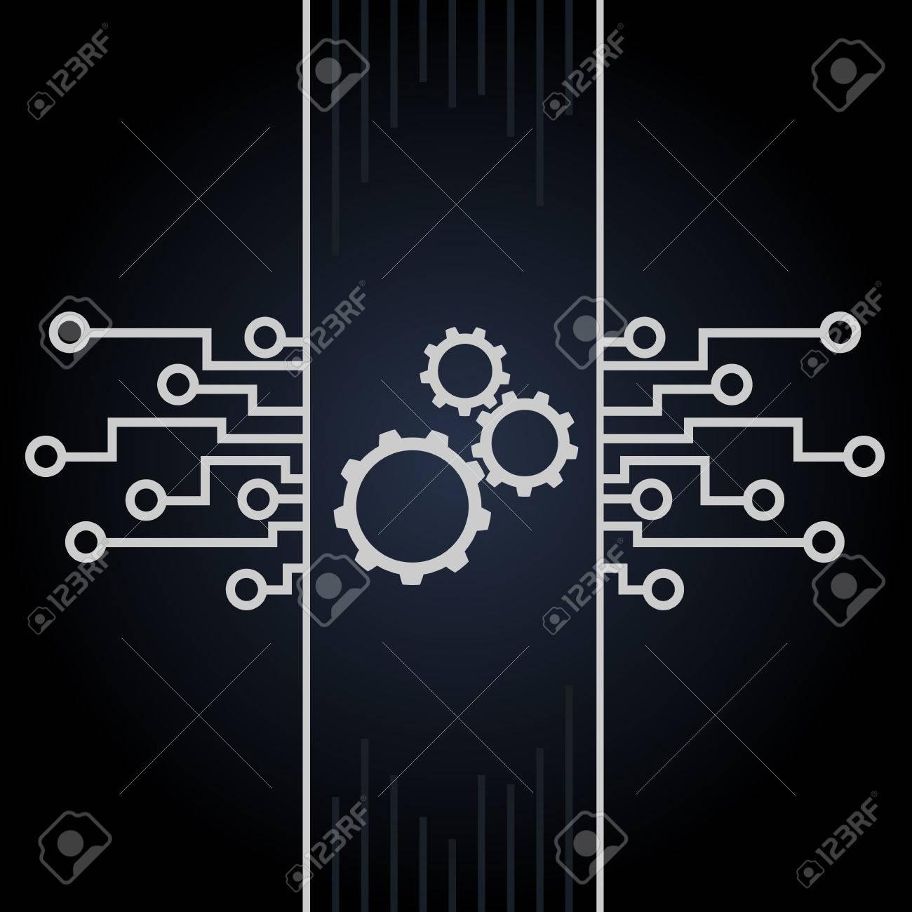 Circuito Y : Placa de circuito y engranajes vector sobre fondo negro diseño de