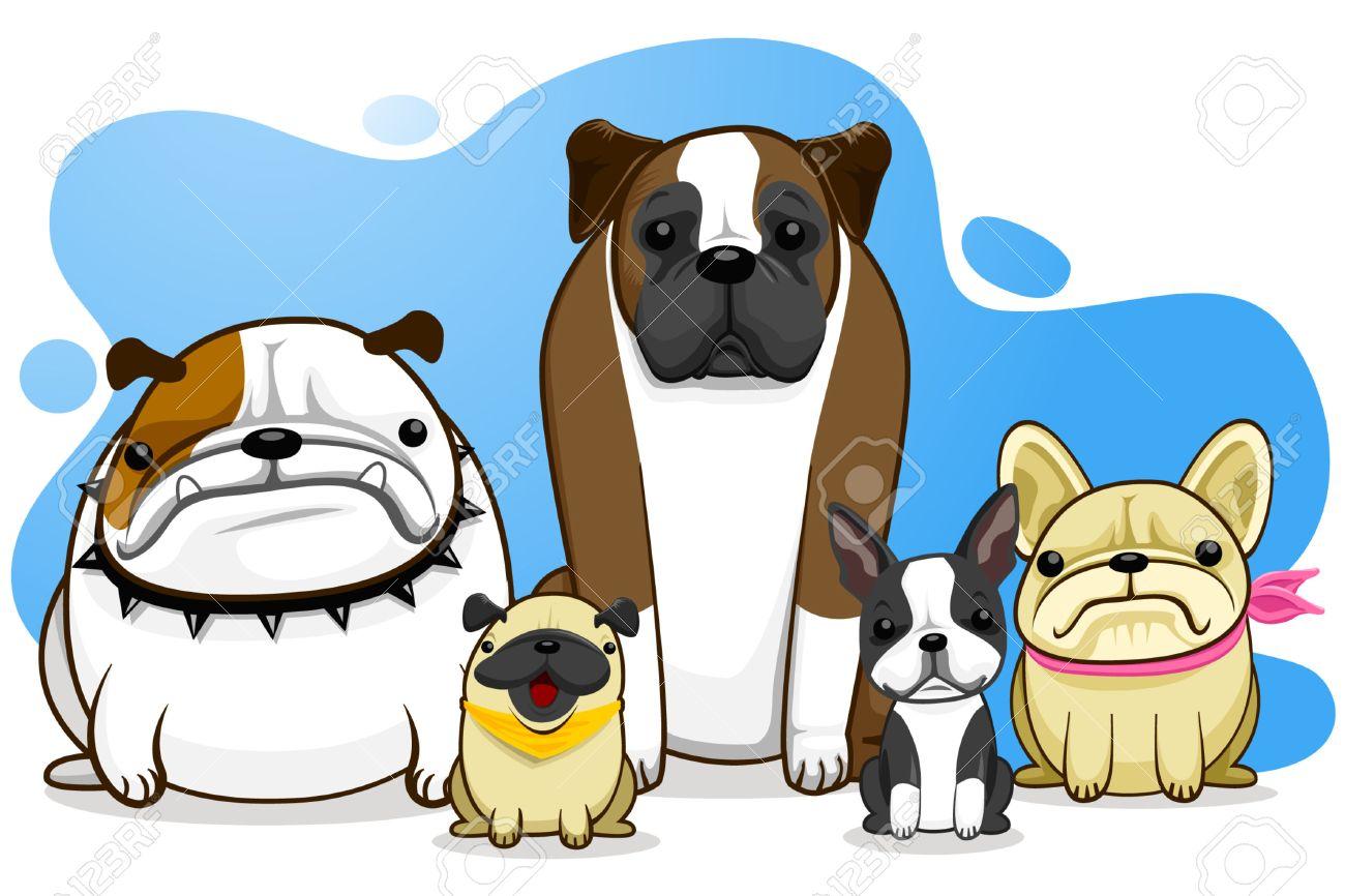 dog, bull dog, pug, boxer, French Bull Dog, Boston Terrier Stock Vector - 7701937
