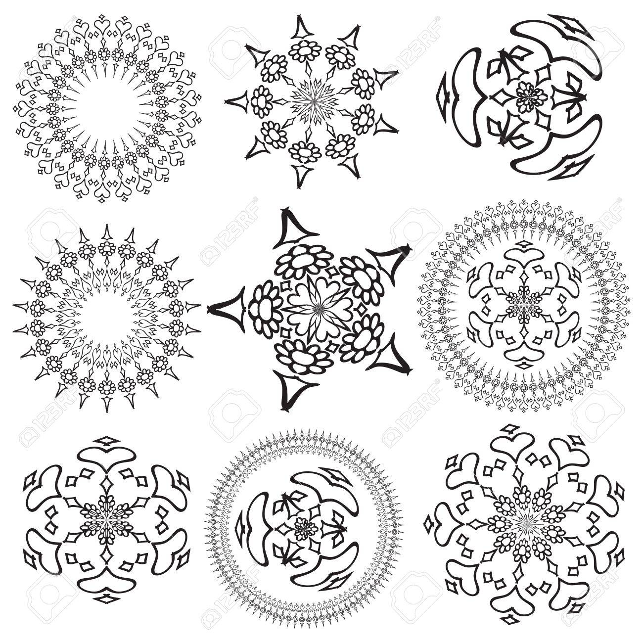 Set Of Mandalas On A White Background Royalty Free Cliparts, Vectors ...